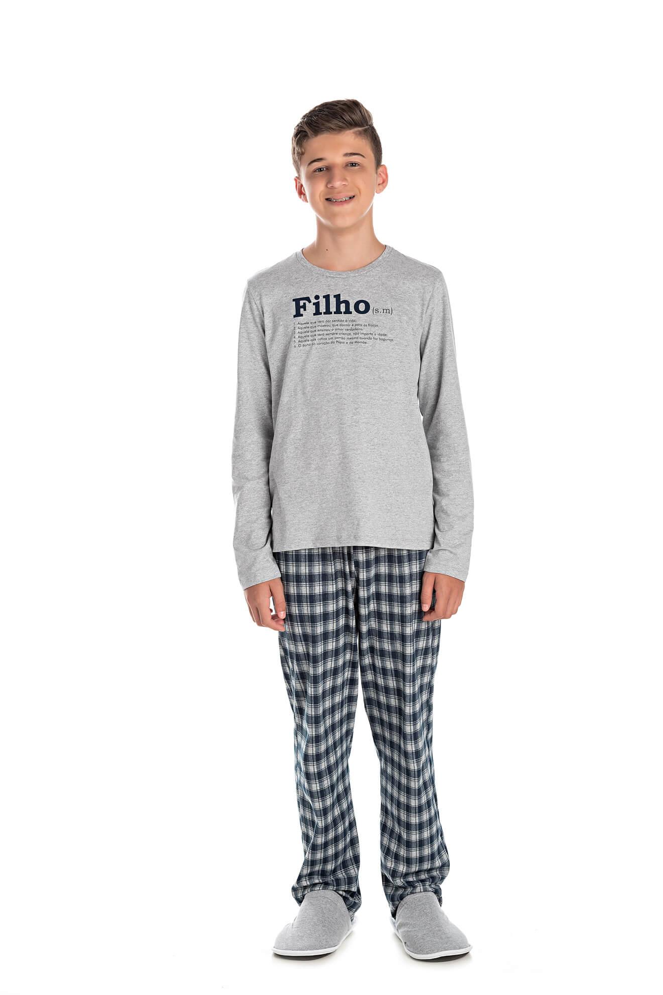 004/B - Pijama Juvenil Masculino Xadrez Família Completa