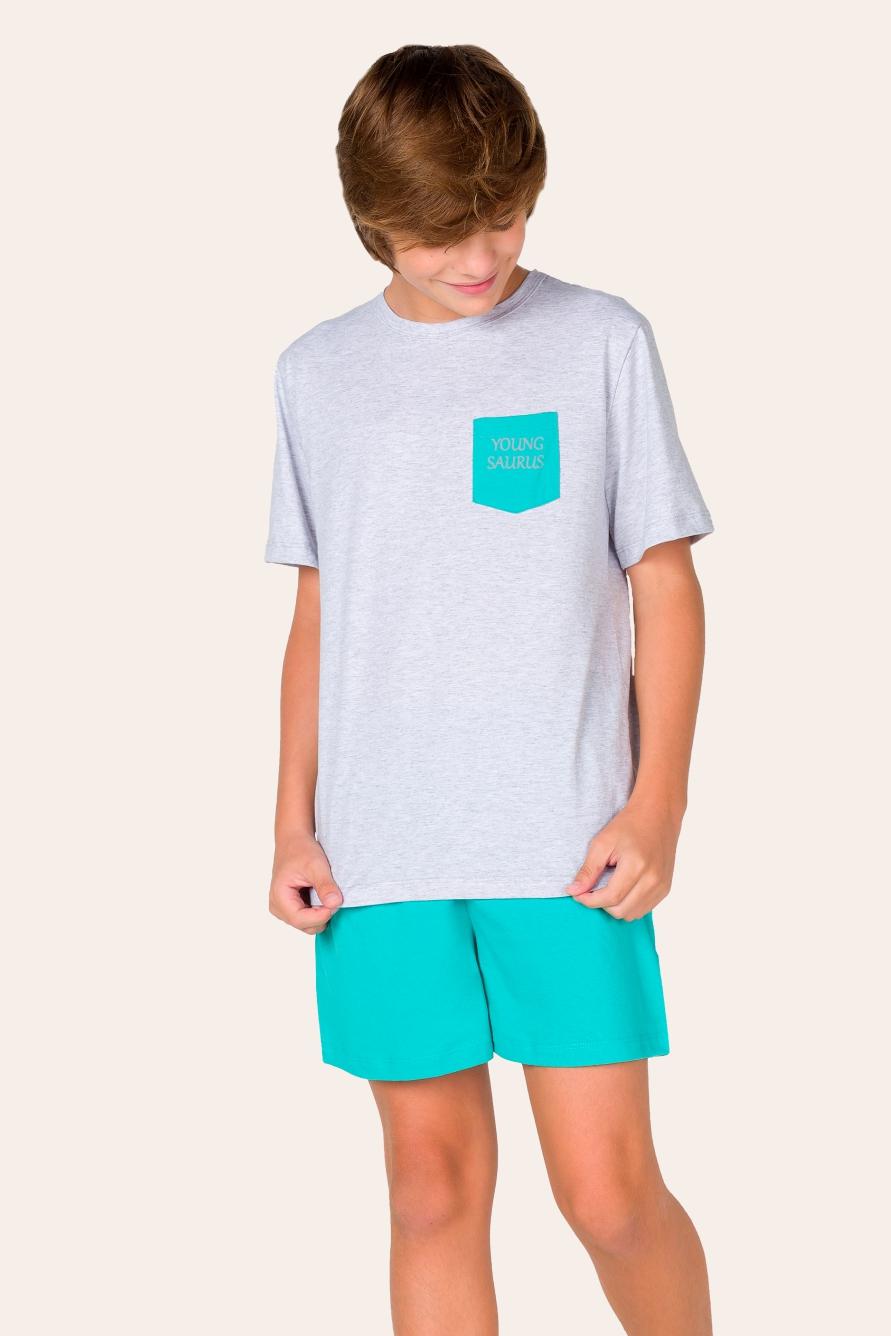 017/E - Pijama Juvenil Masculino Youngsaurus- Família
