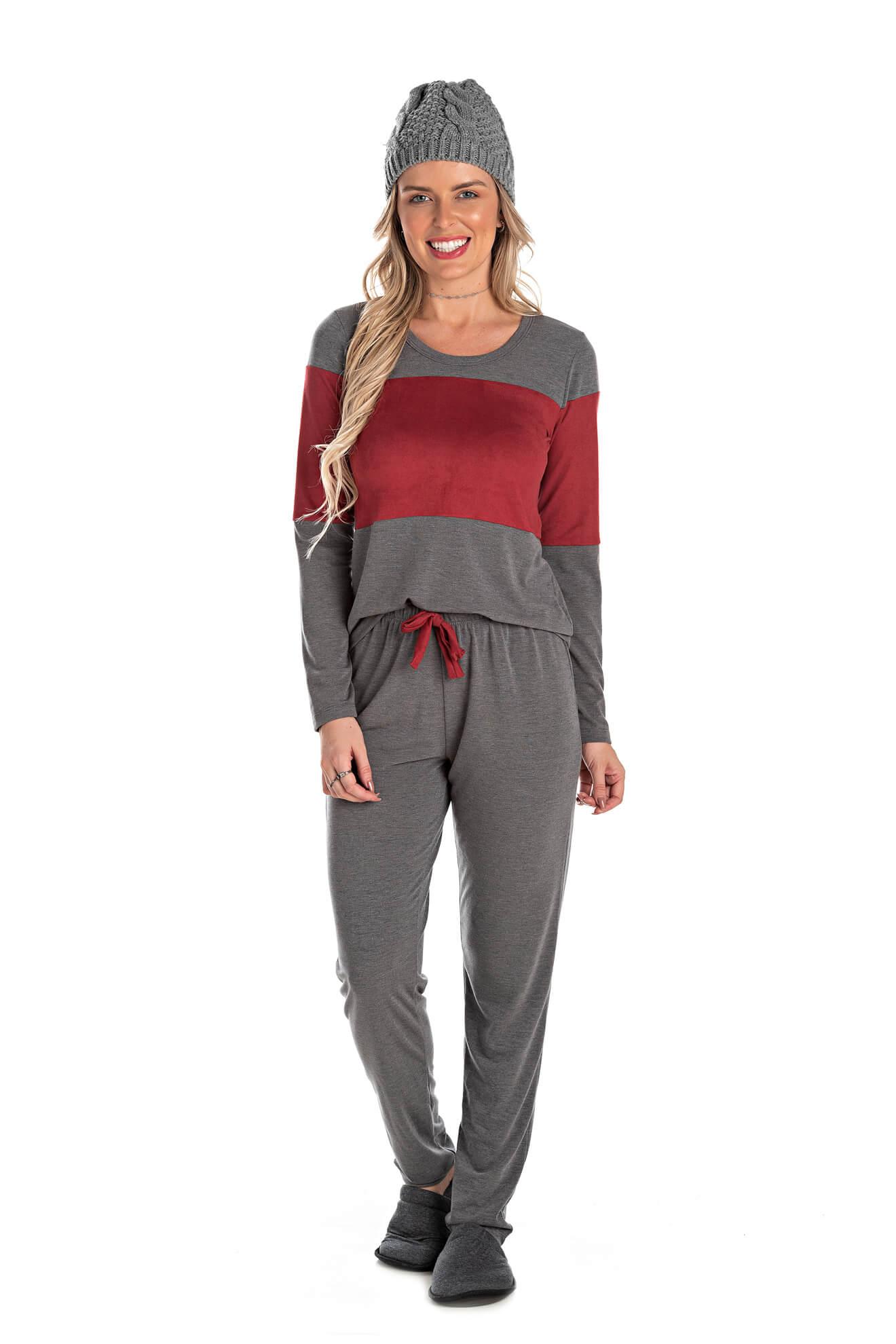 006/B - Pijama Longo Adulto Feminino Suede Bordô