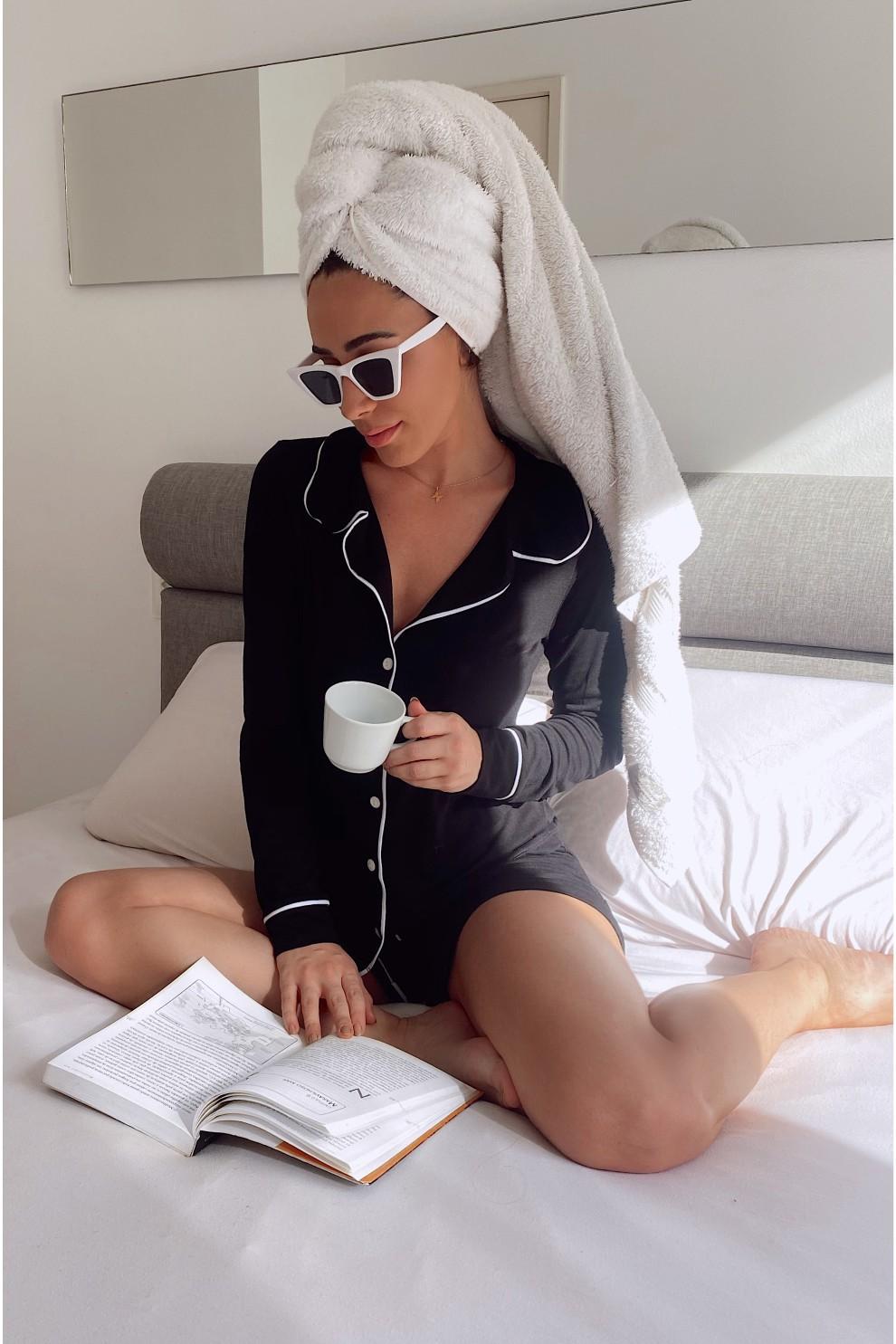 001/B - Pijama Adulto Feminino Longo Com Short Comfy Viscolycra