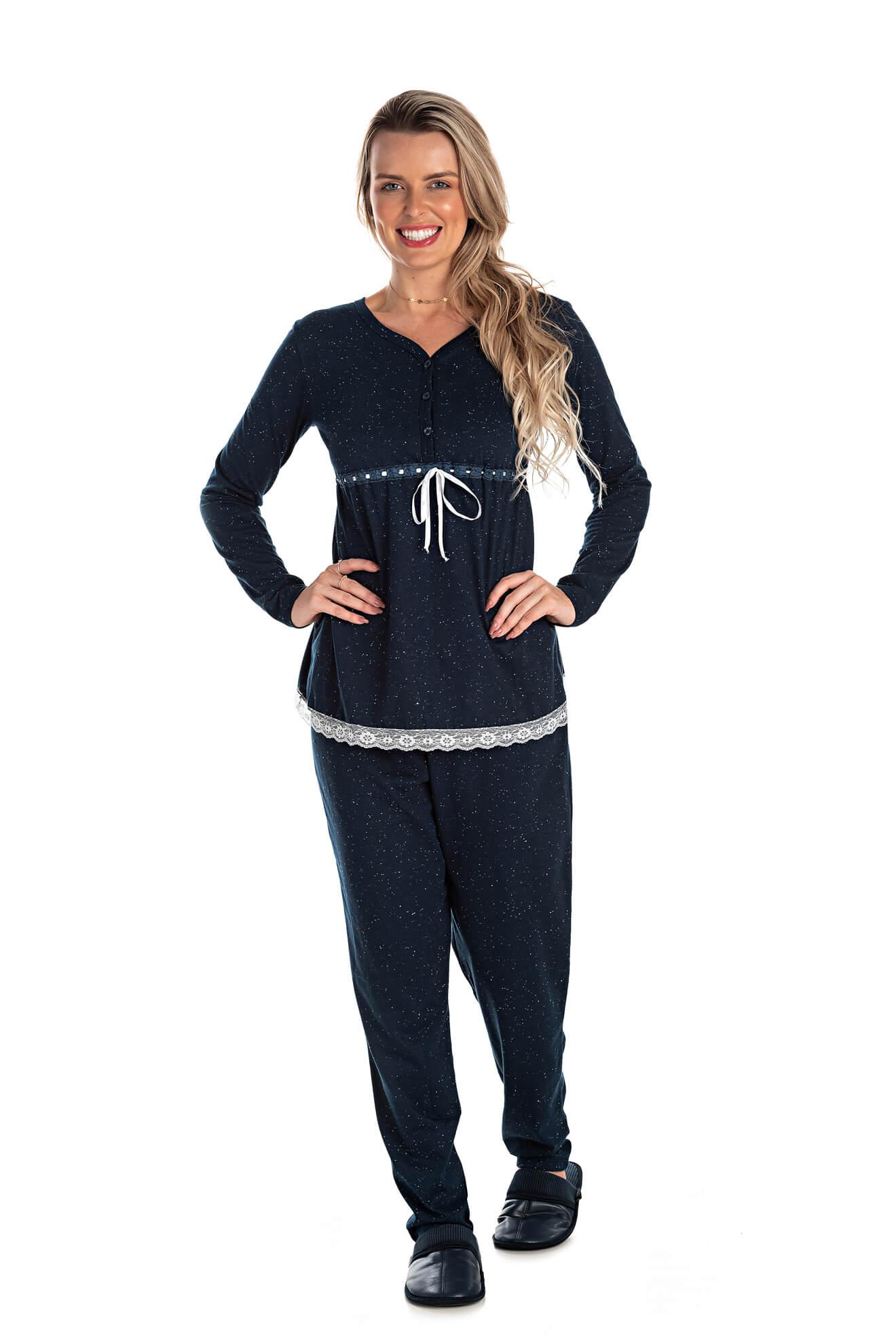 003/E  - Pijama Maternidade Botonê Com Laço