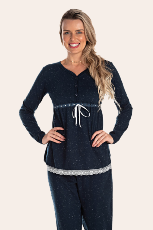 196/C - Pijama Maternidade Botonê Com Laço