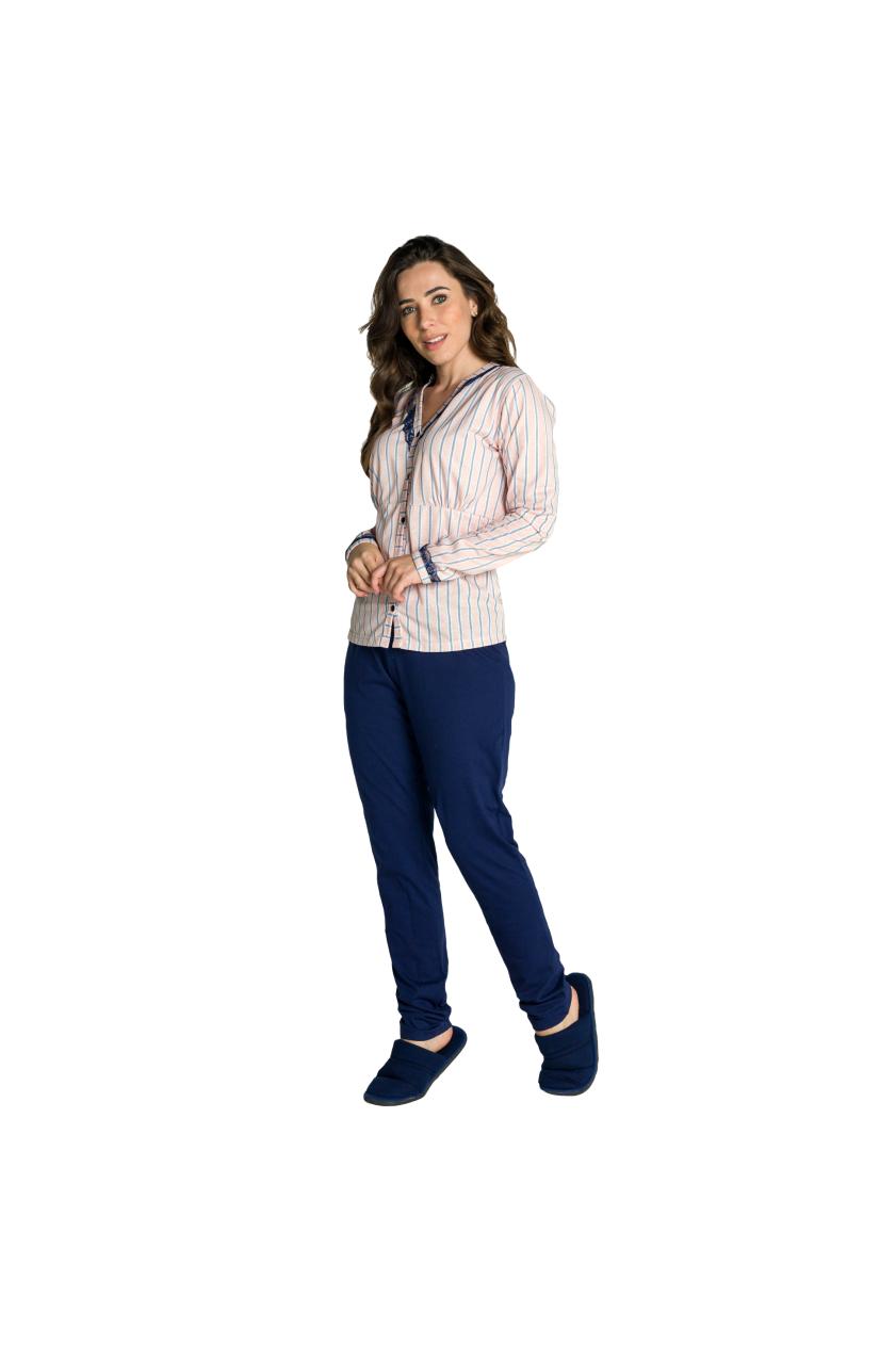 016/G - Pijama Maternidade Listrado  com Renda