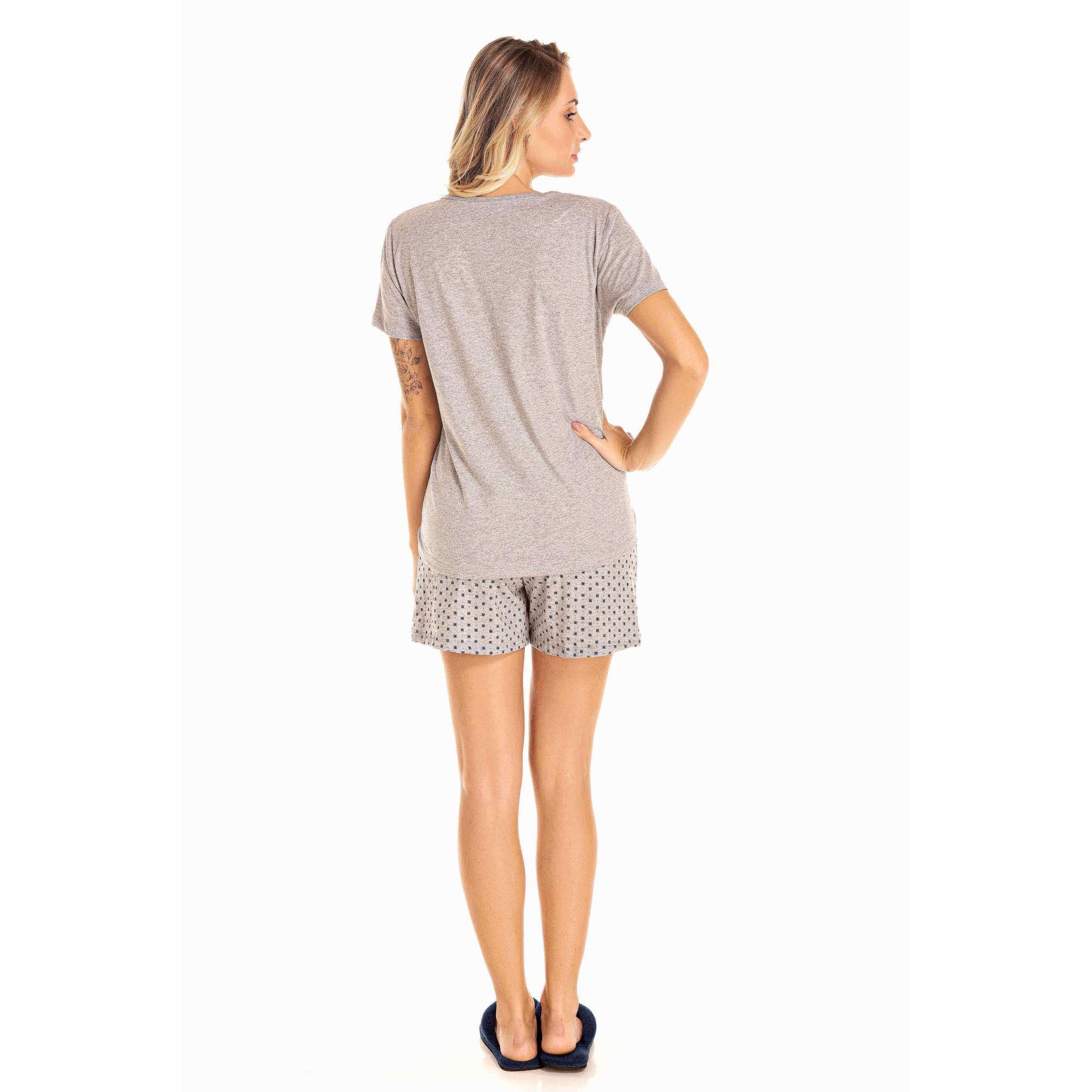 111/E - Short Doll Adulto Feminino Decote V Foil - Mescla