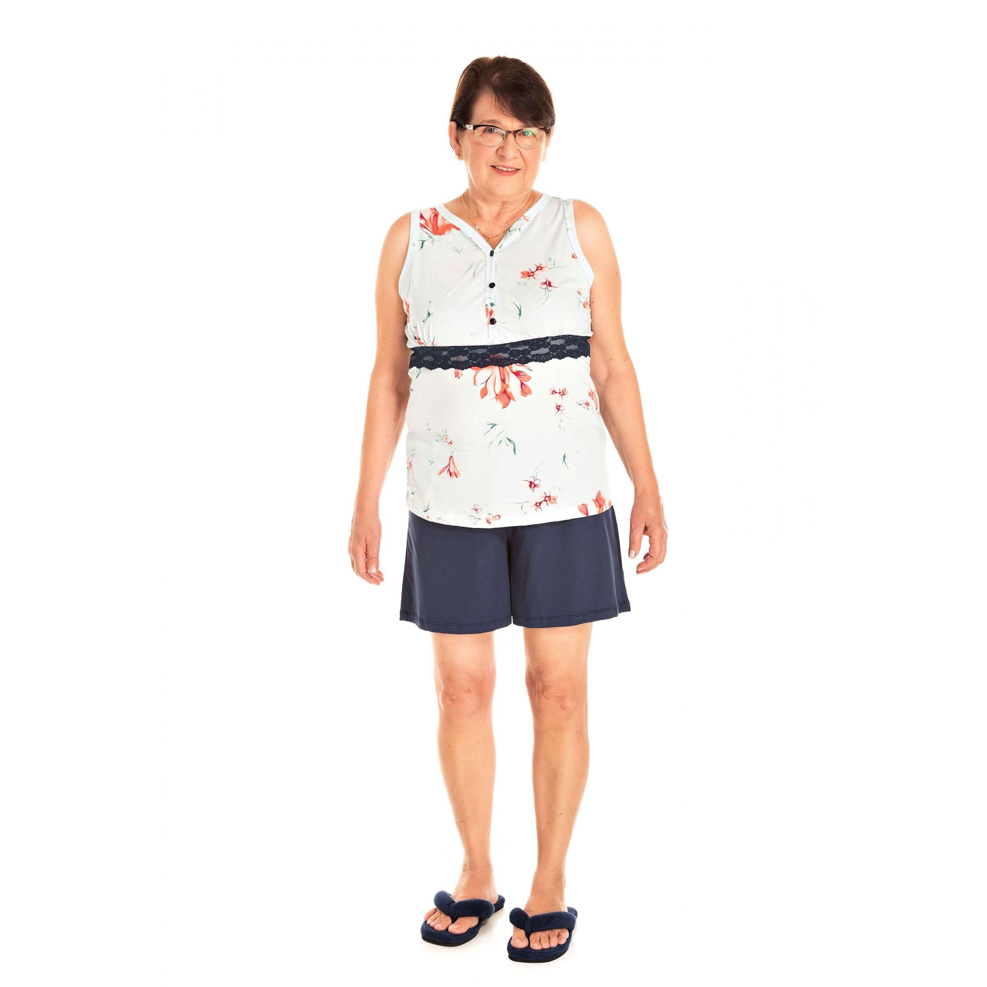 111/A - Short Doll Adulto Feminino Floral Com Renda