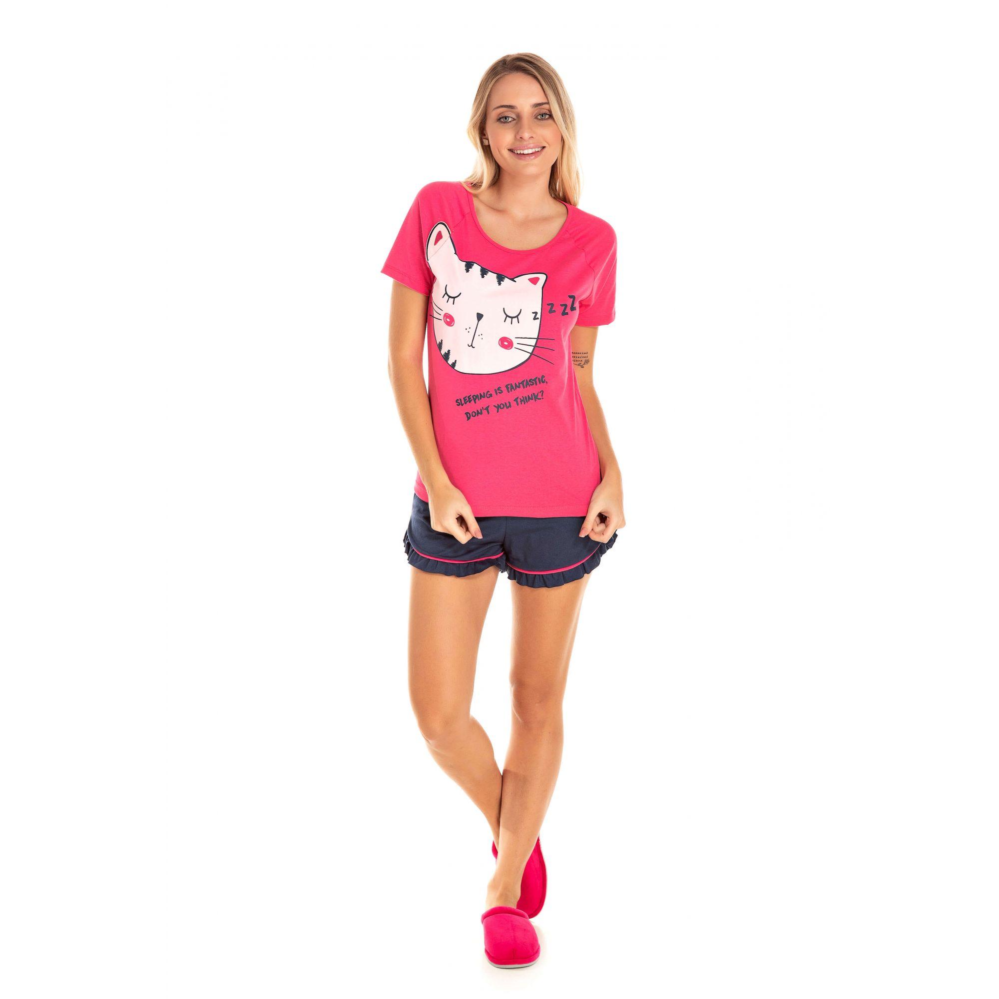 030 - Short Doll Adulto Feminino Gatinho Zzz - Pink