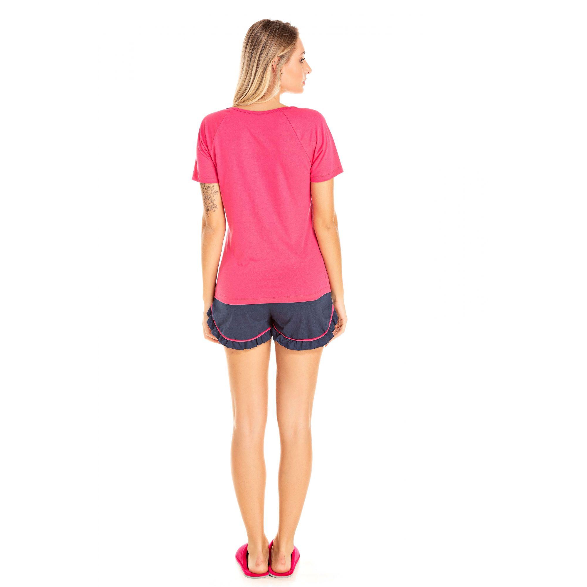 104/D - Short Doll Adulto Feminino Gatinho Zzz - Pink