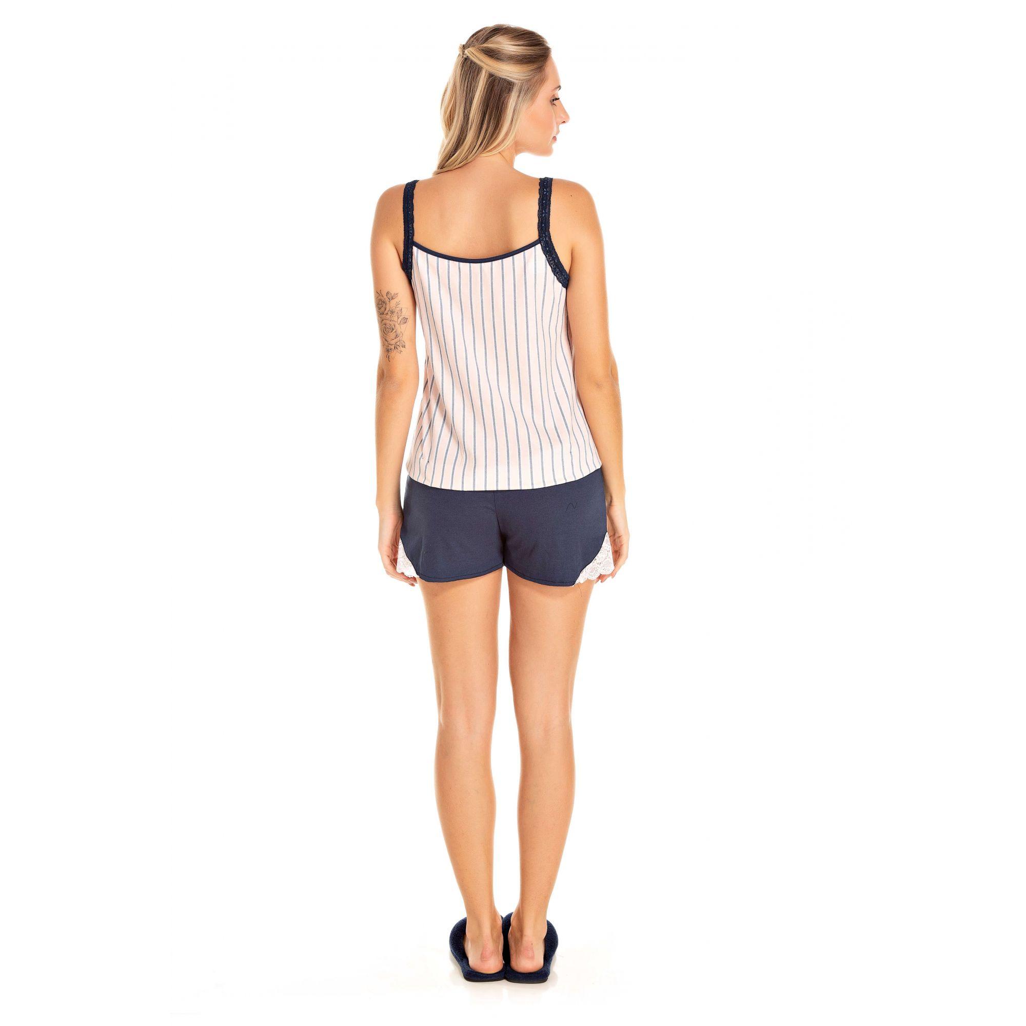 112/E - Short Doll Adulto Feminino Listrado