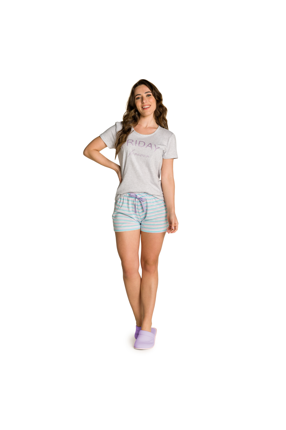 019/B - Short Doll Adulto Feminino Listrado Friday Forever