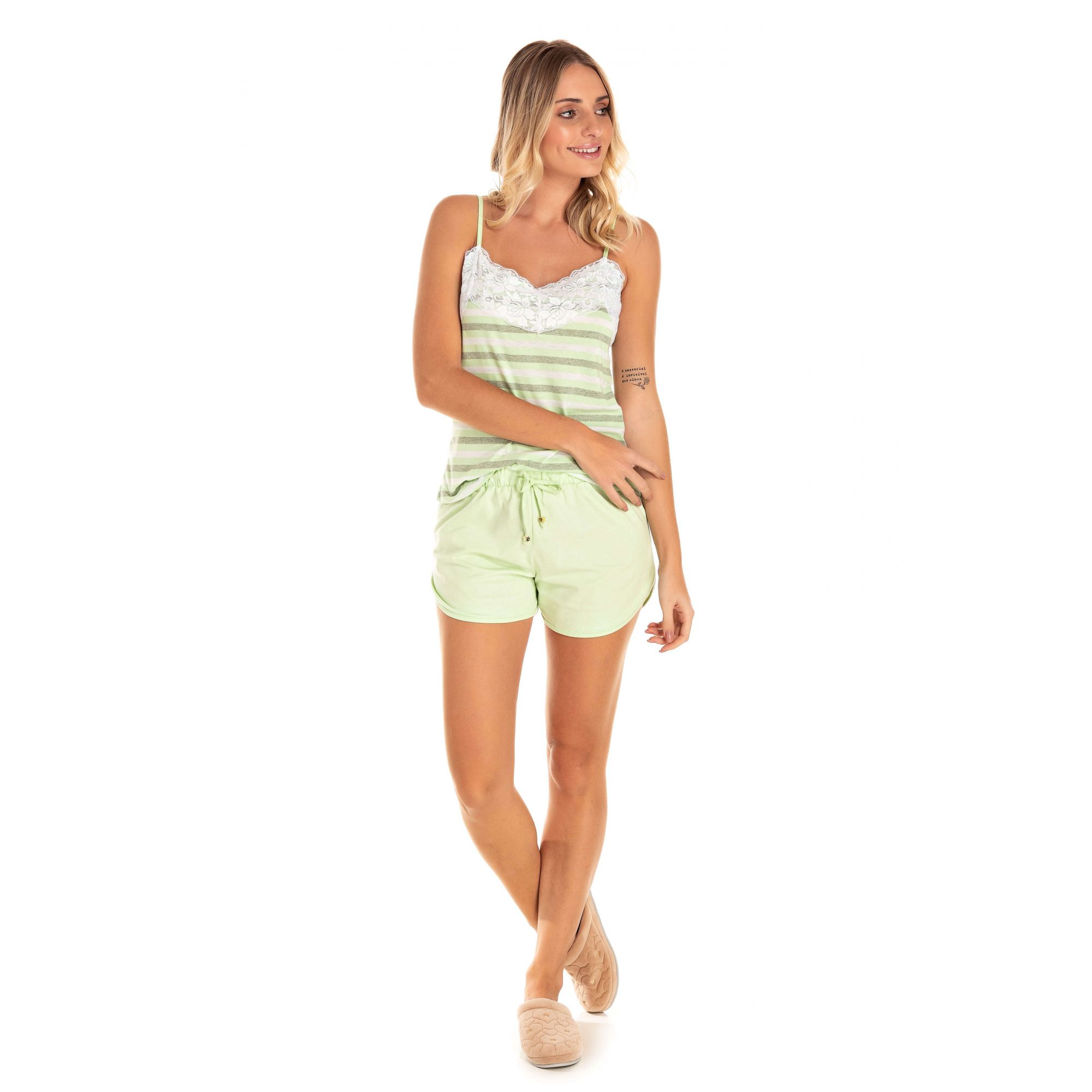 Short Doll Adulto Feminino Regata Listrado