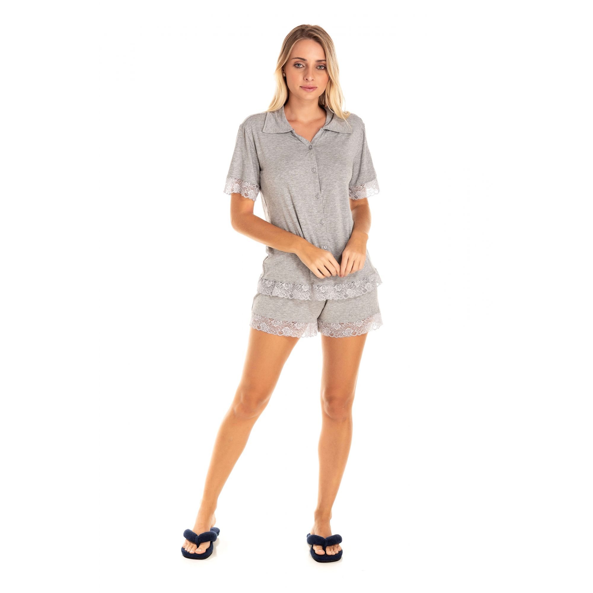 111/G - Short Doll Adulto Feminino Renda - Mescla