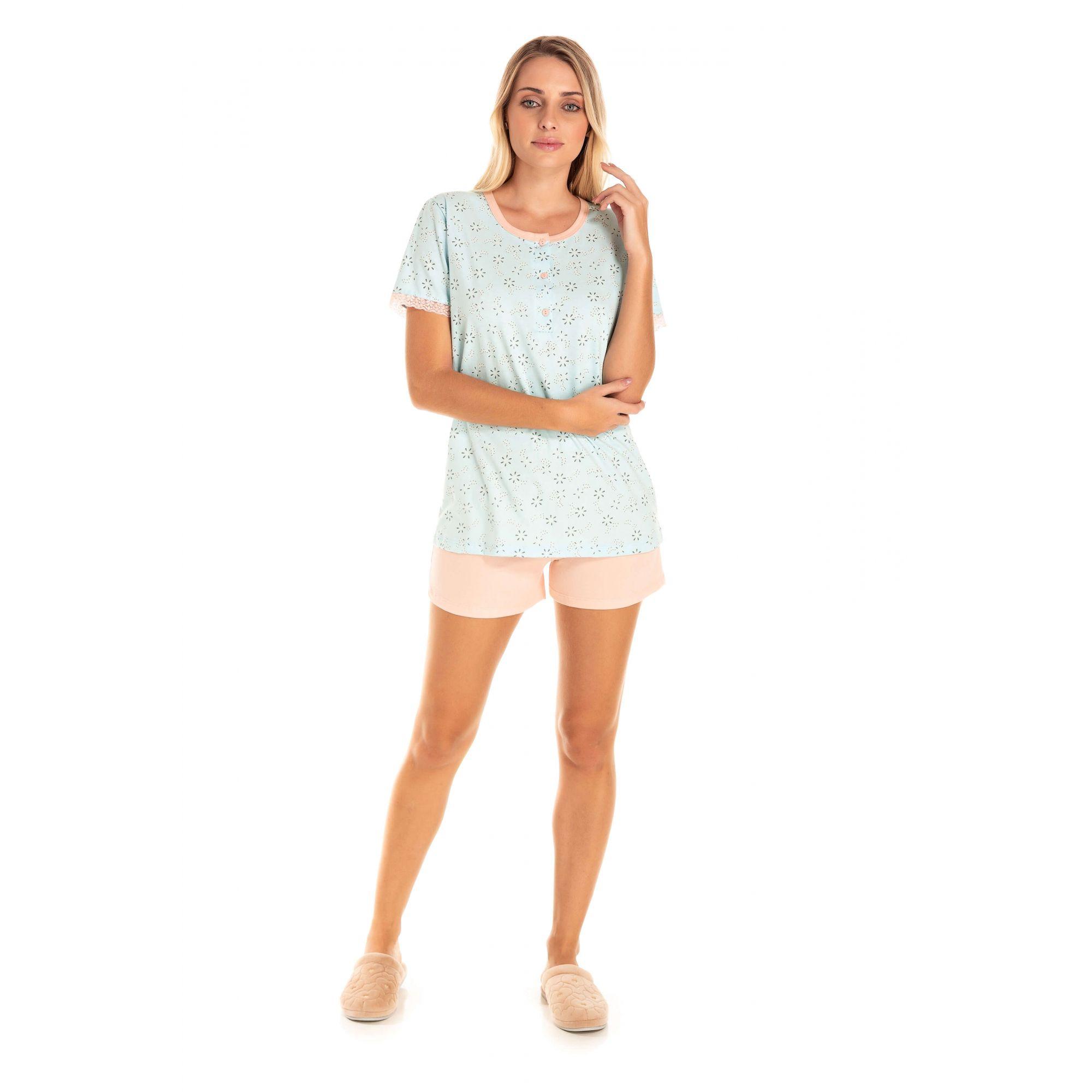 Short Doll Adulto Feminino Romântico - Azul