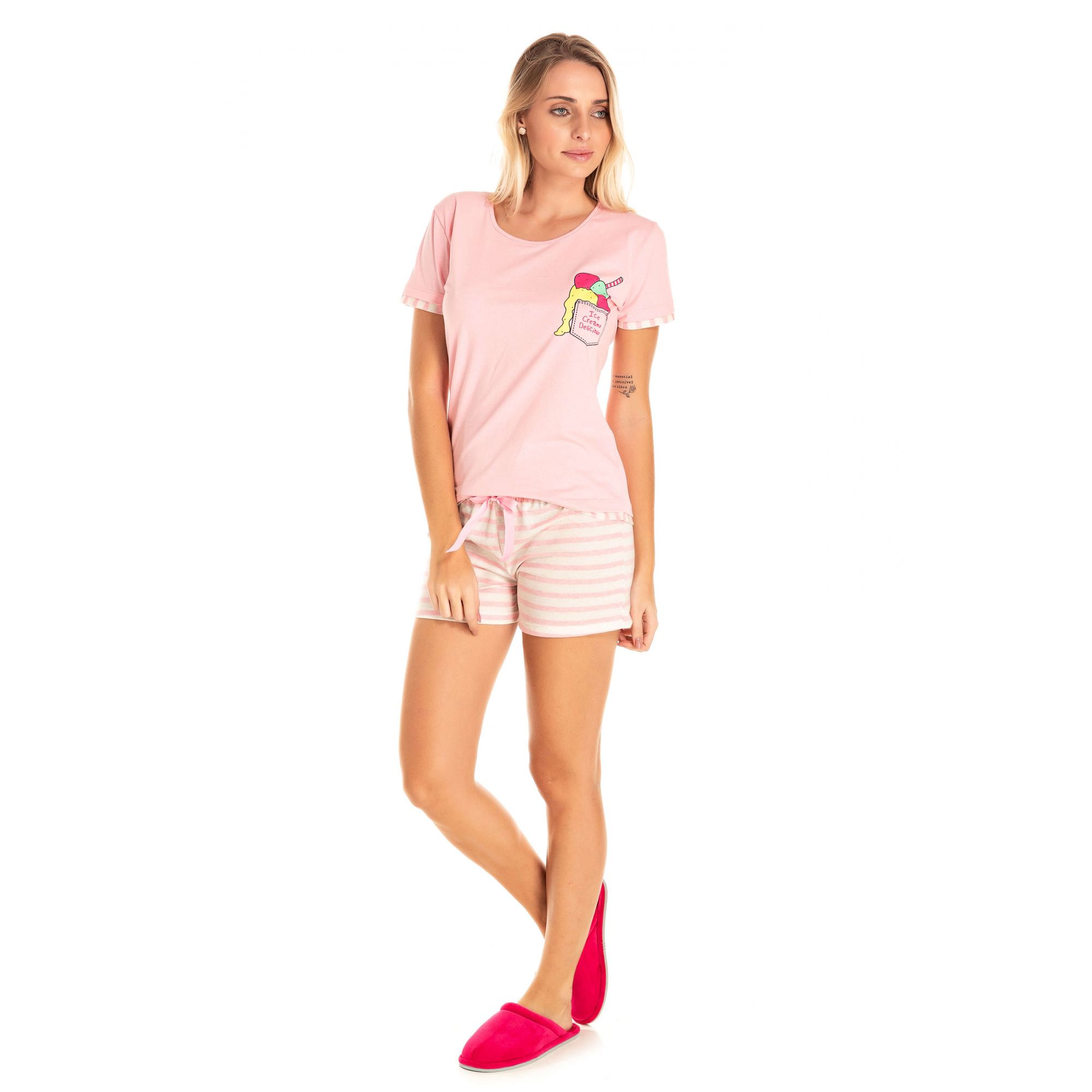 Short Doll Adulto Feminino Sorvete - Rosa
