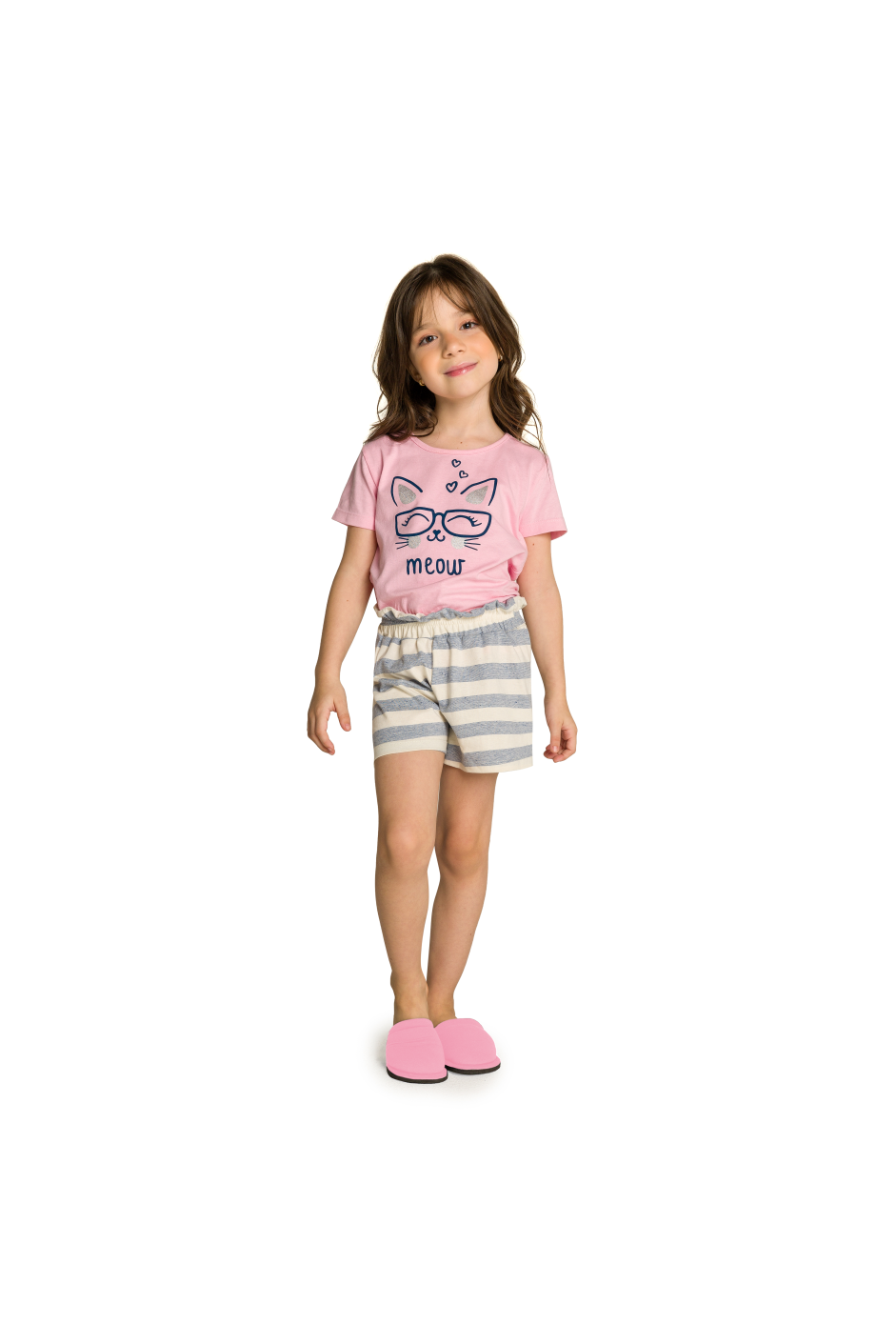 005/Q - Short Doll Infantil Feminino Familia Cats - Meow