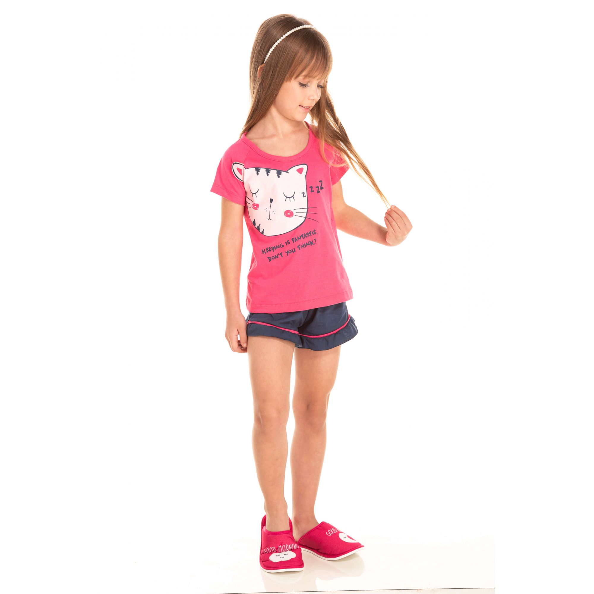 032 - Short Doll Infantil Feminino Gatinho Zzz - Pink