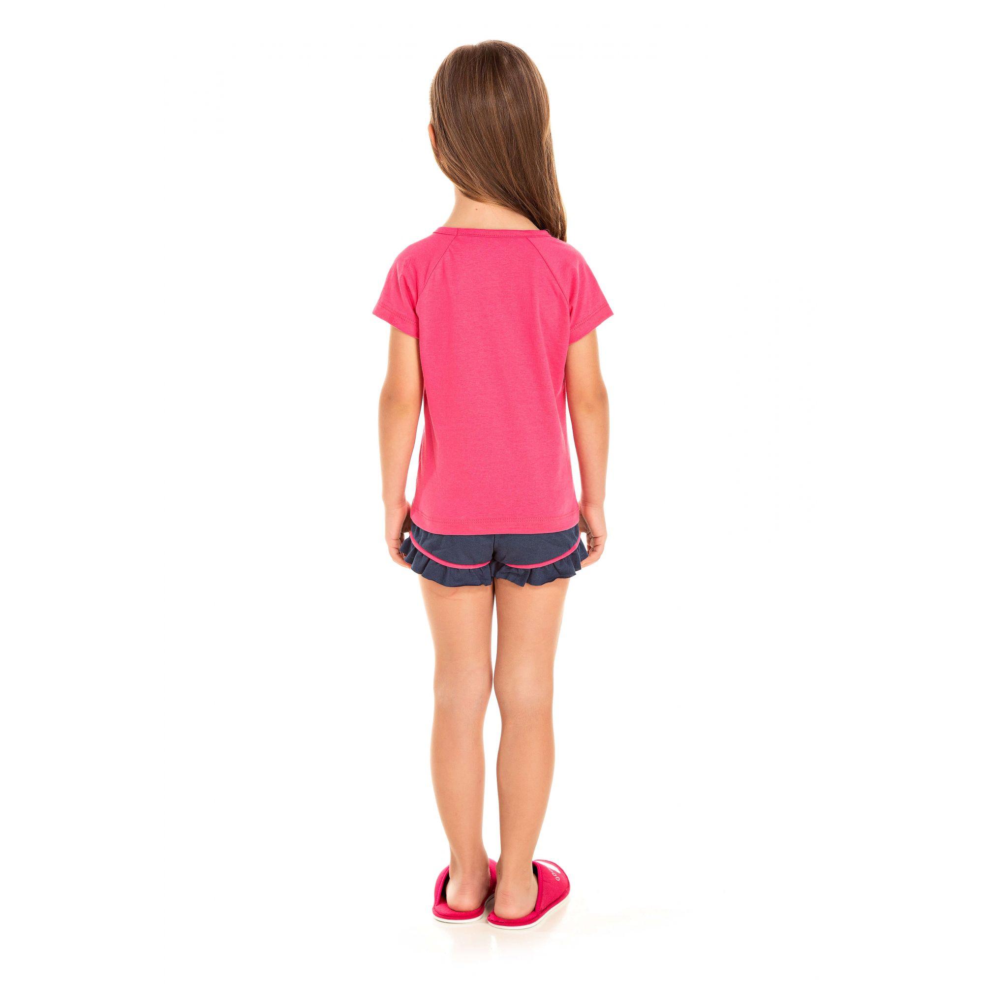 104/F - Short Doll Infantil Feminino Gatinho Zzz - Pink