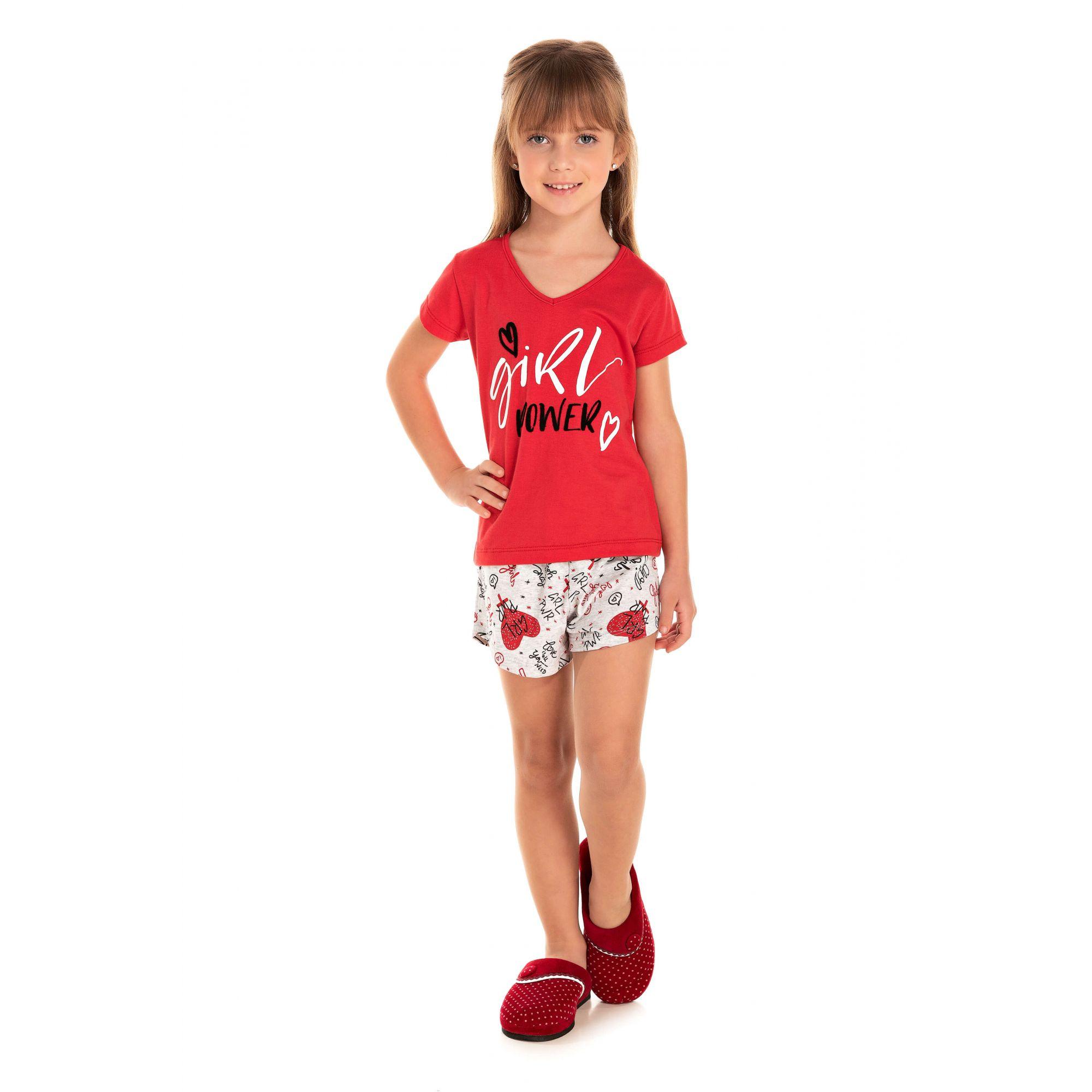 026 - Short Doll Infantil Feminino Girl Power - Vermelho