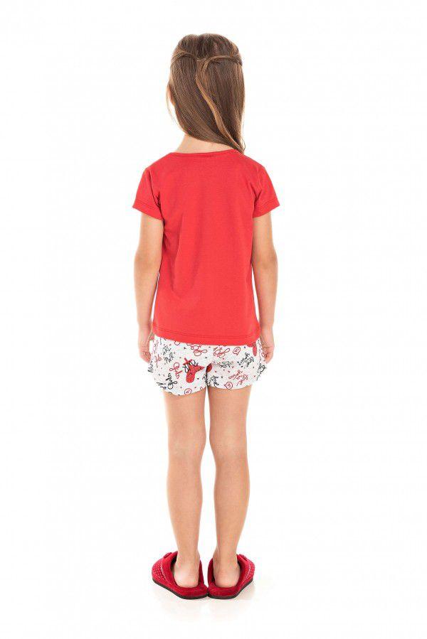 103/G - Short Doll Infantil Feminino Girl Power - Vermelho
