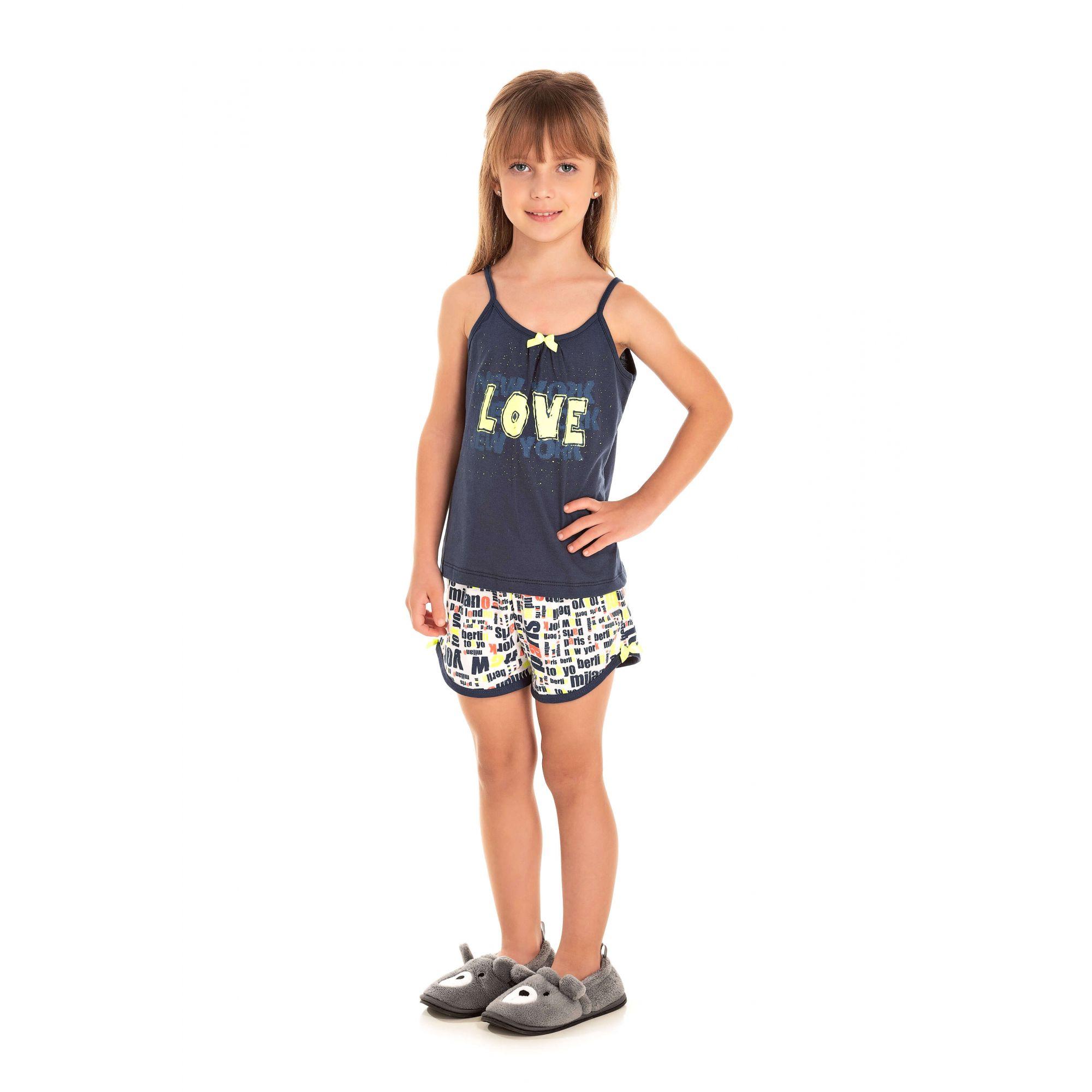 020 - Short Doll Infantil Feminino Love - Marinho