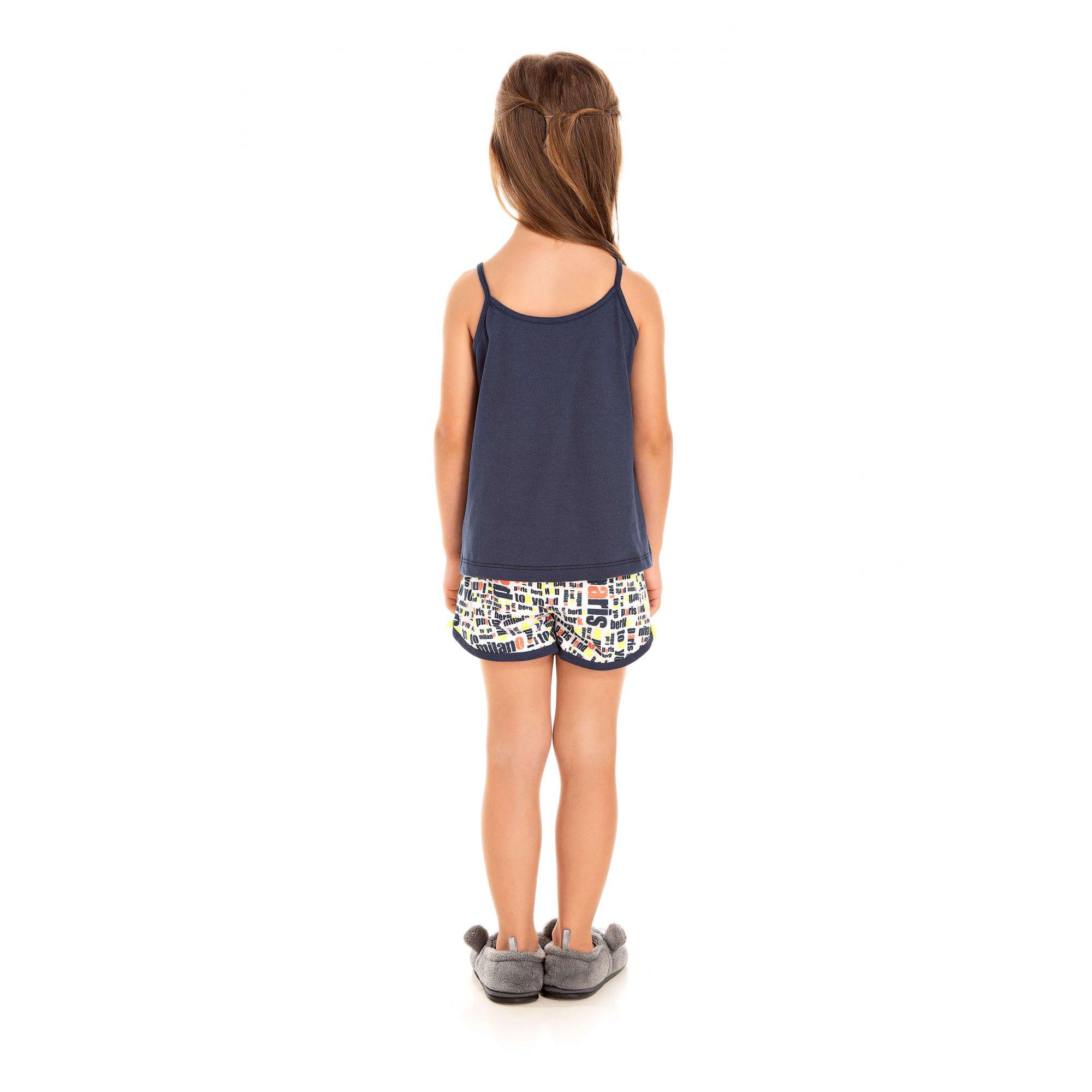 208/E - Short Doll Infantil Feminino Love - Marinho