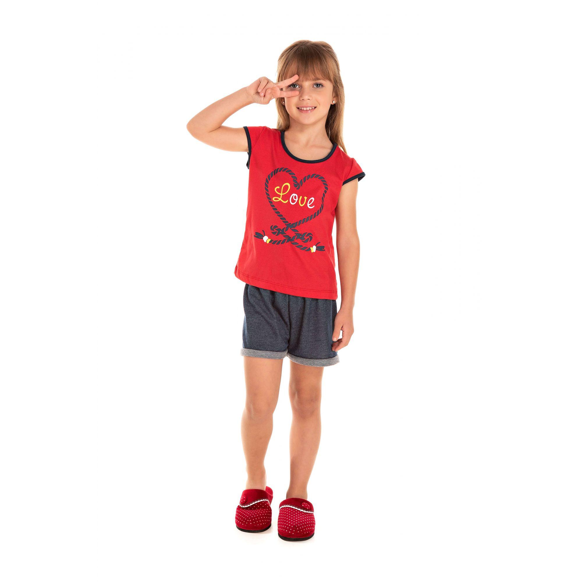 107/C - Short Doll Infantil Feminino Love - Vermelho