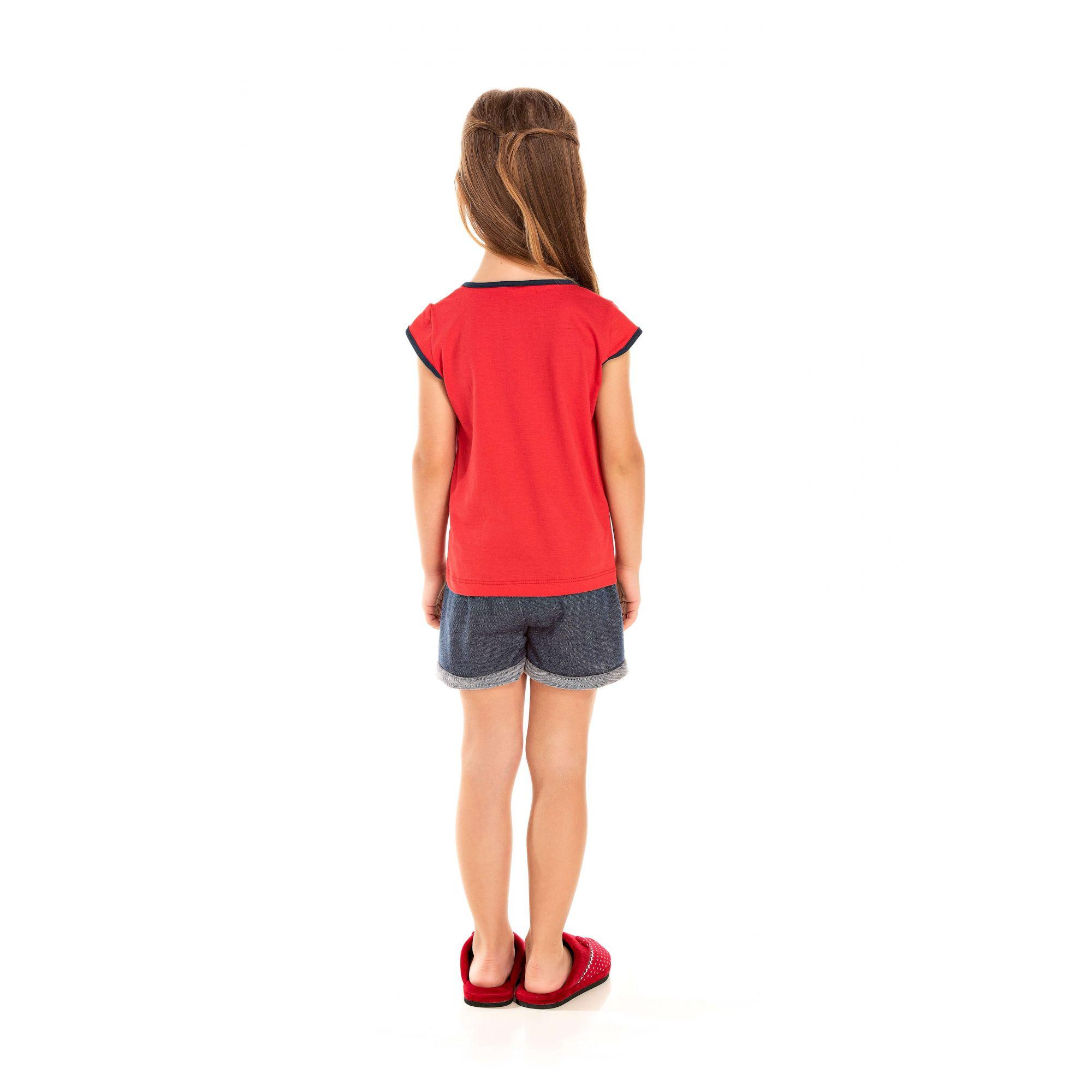 009 - Short Doll Infantil Feminino Love - Vermelho