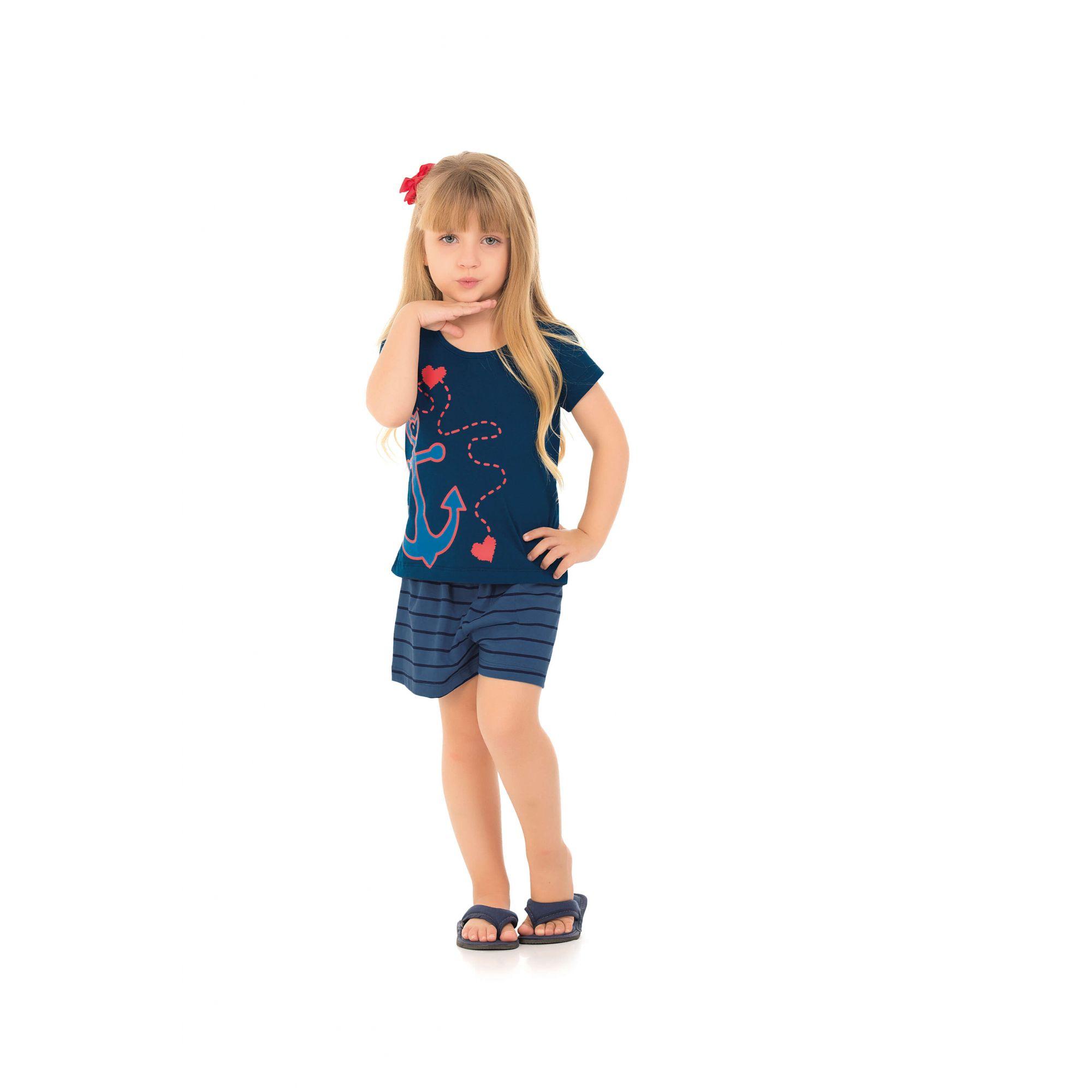 Short Doll  Infantil Feminino Náutico - Família