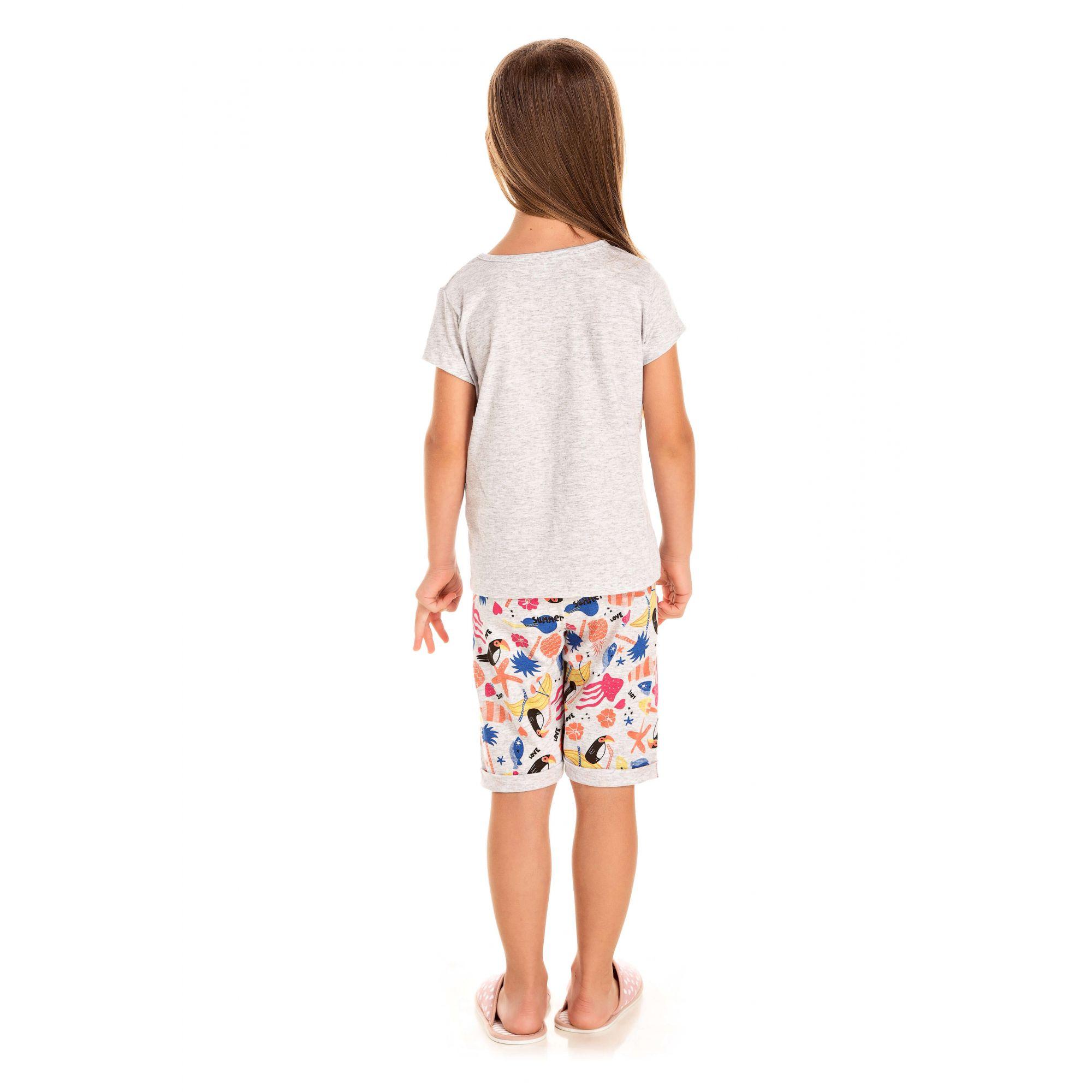 Short Doll Infantil Feminino Picolé Pom Pons - Mescla