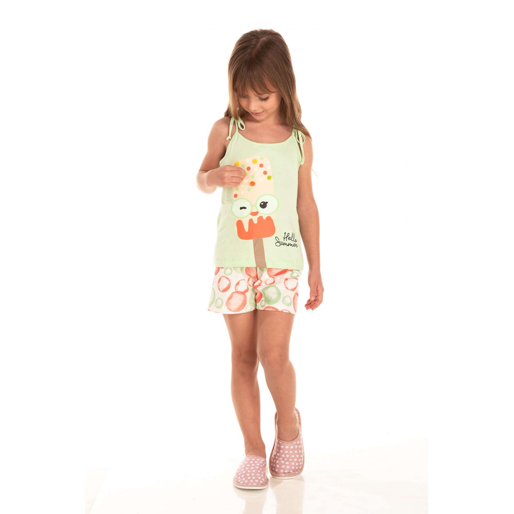 Short Doll Infantil Feminino Picolé Pom Pons - Verde
