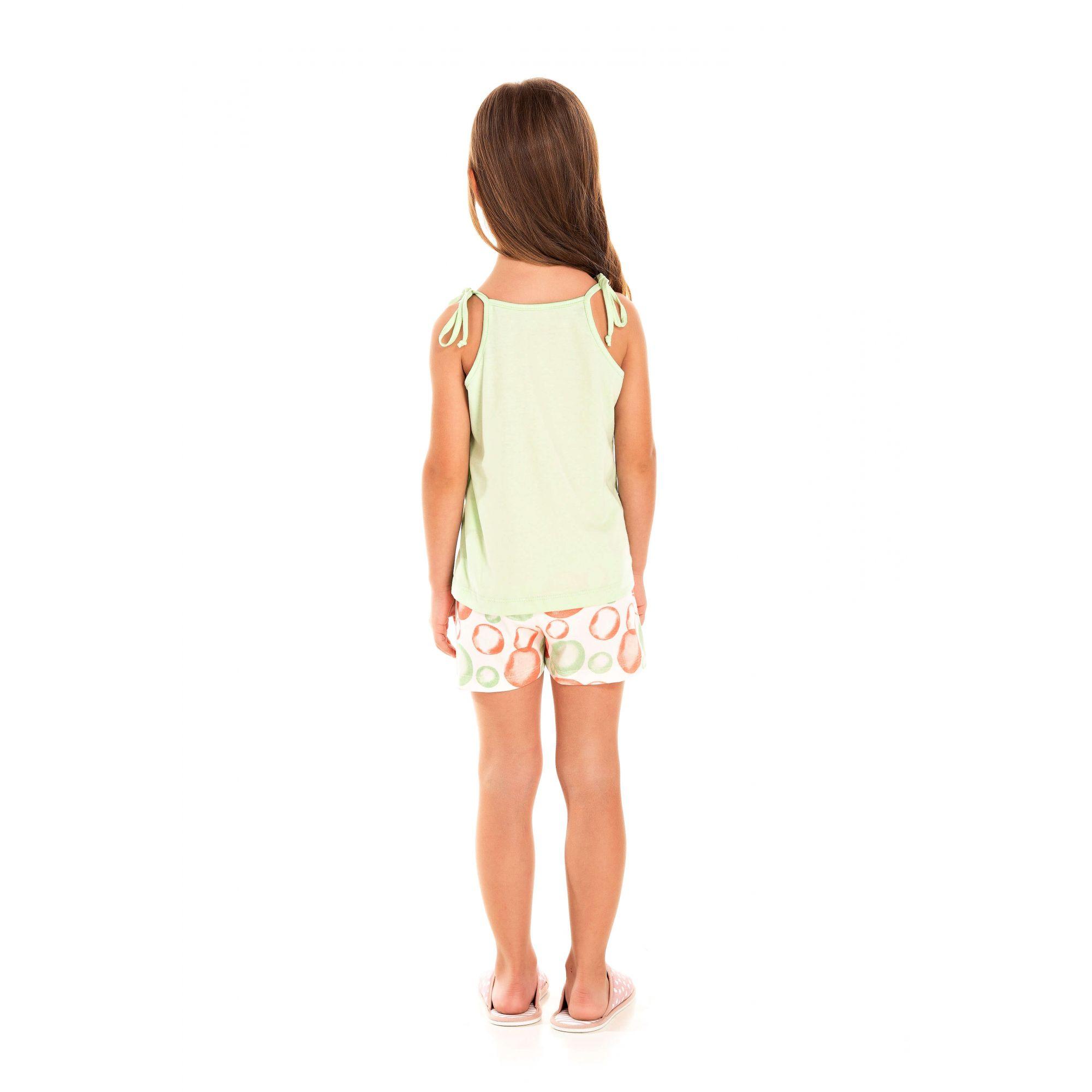109/F - Short Doll Infantil Feminino Picolé Pom Pons - Verde