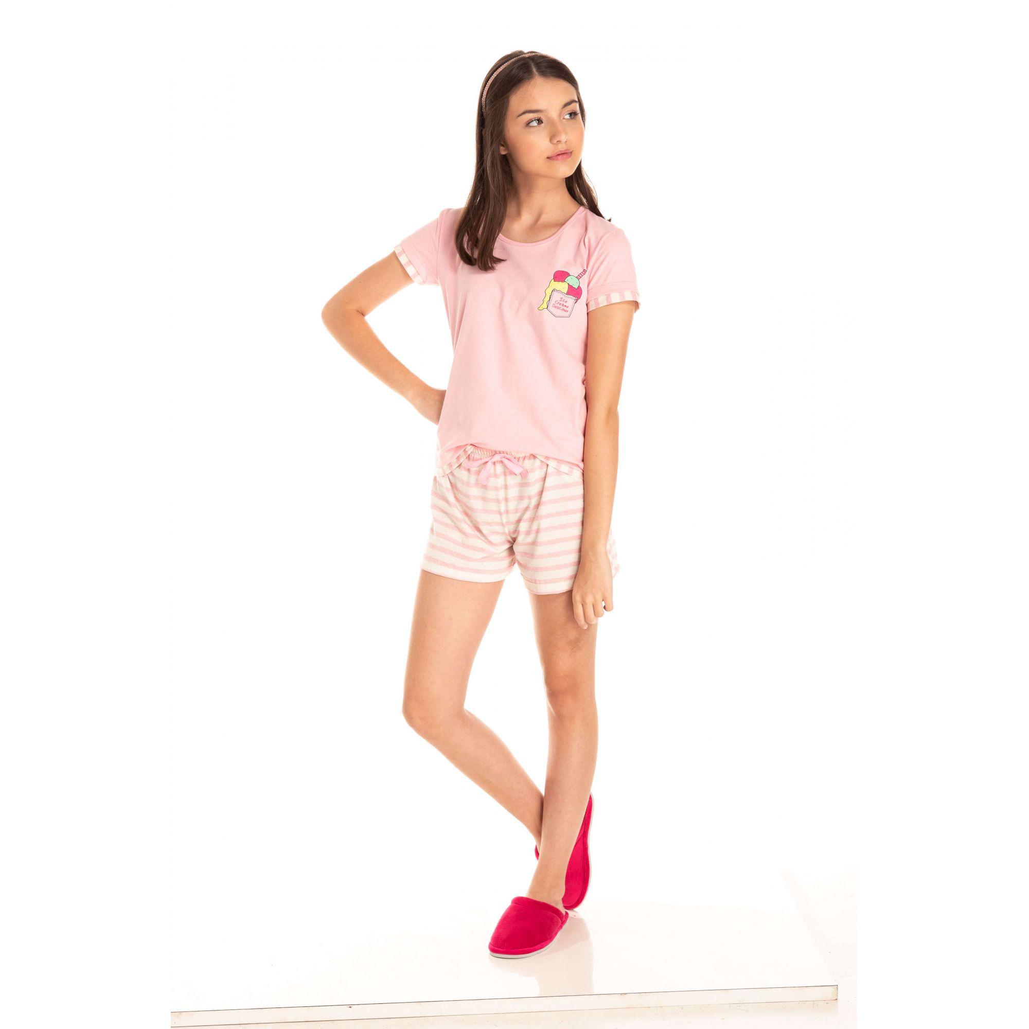Short Doll Juvenil Feminino Sorvete - Rosa
