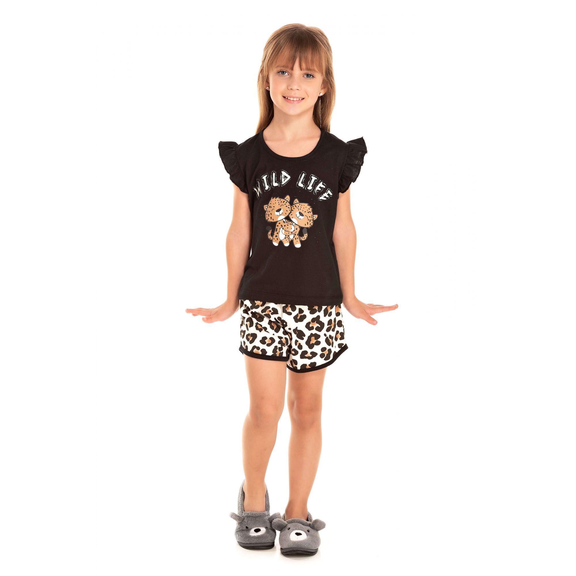 Short Doll  Infantil Feminino Wild Life - Preto