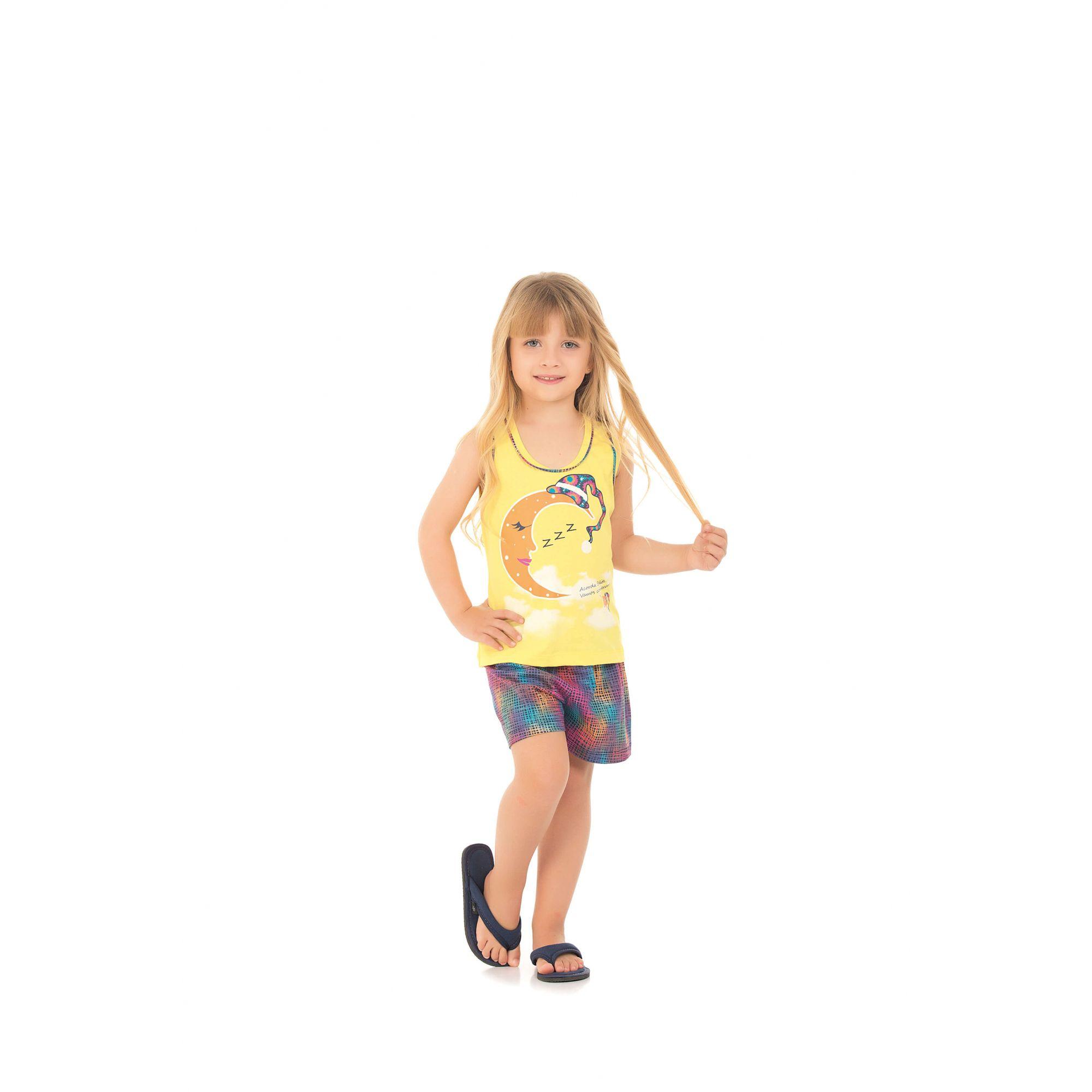 109/H - Short Doll Infantil Regata Belita - Amarelo