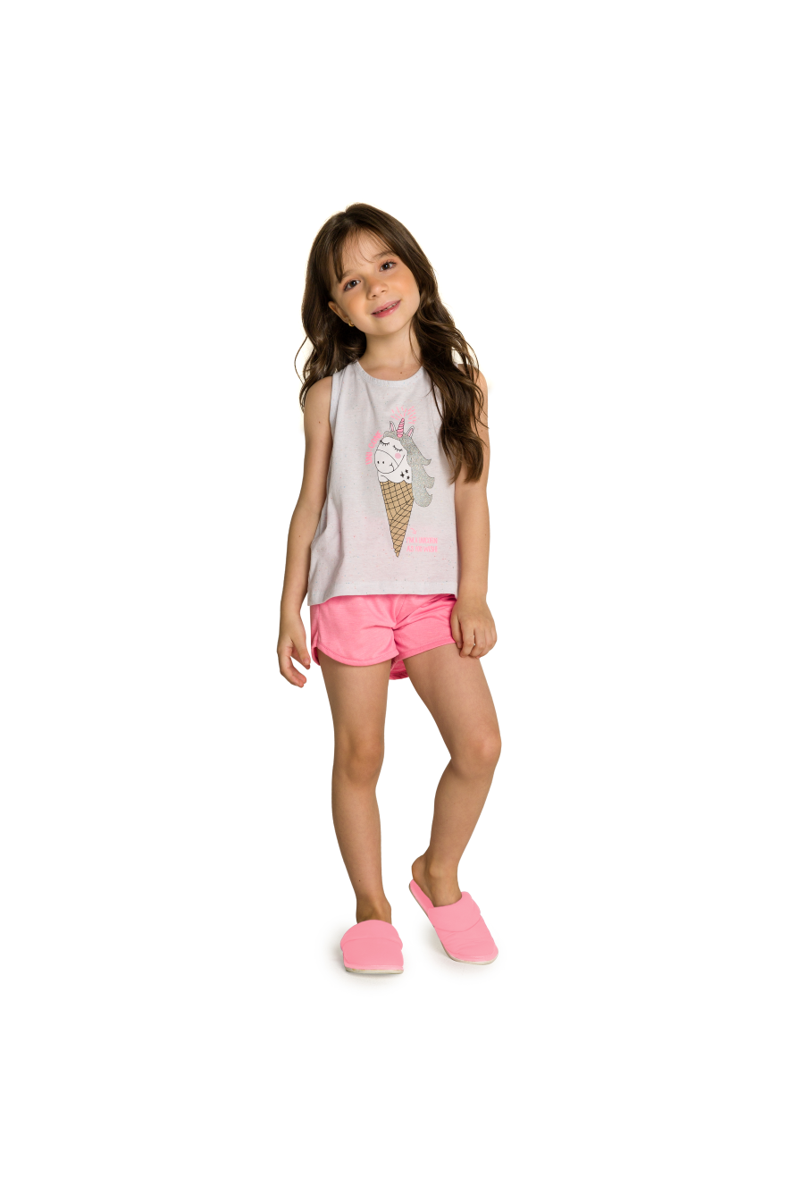 010/L - Short Doll Infantil Regata Unicórnio