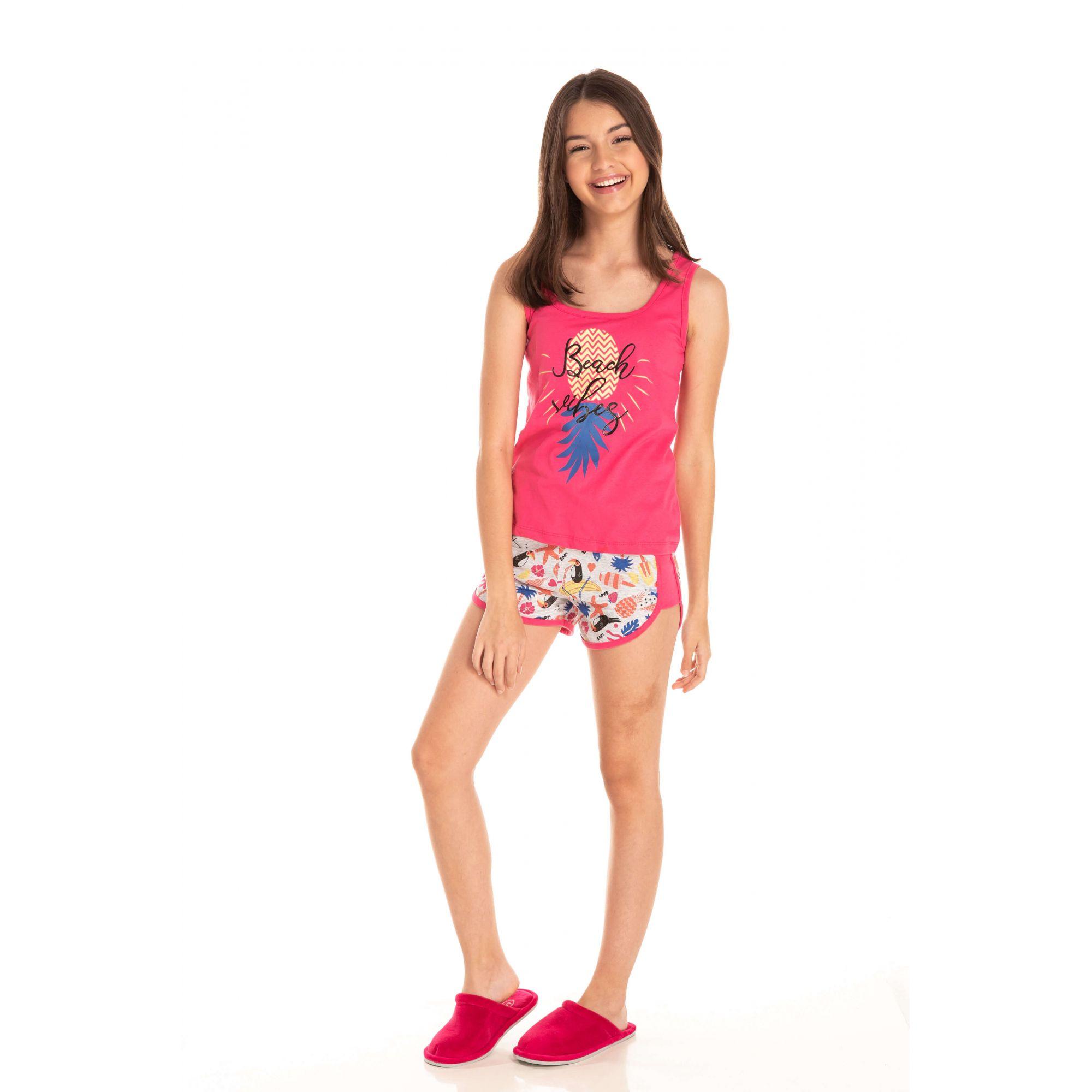 Short Doll Juvenil Feminino Beach Vibes - Rosa