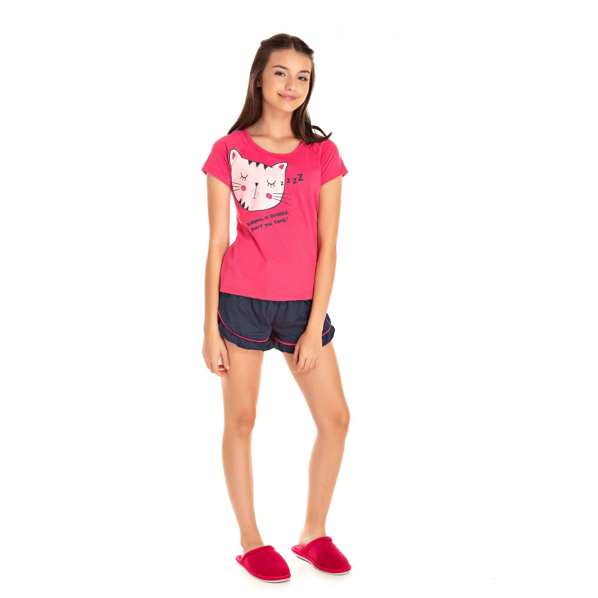 031 - Short Doll Juvenil Feminino Gatinho Zzz - Pink