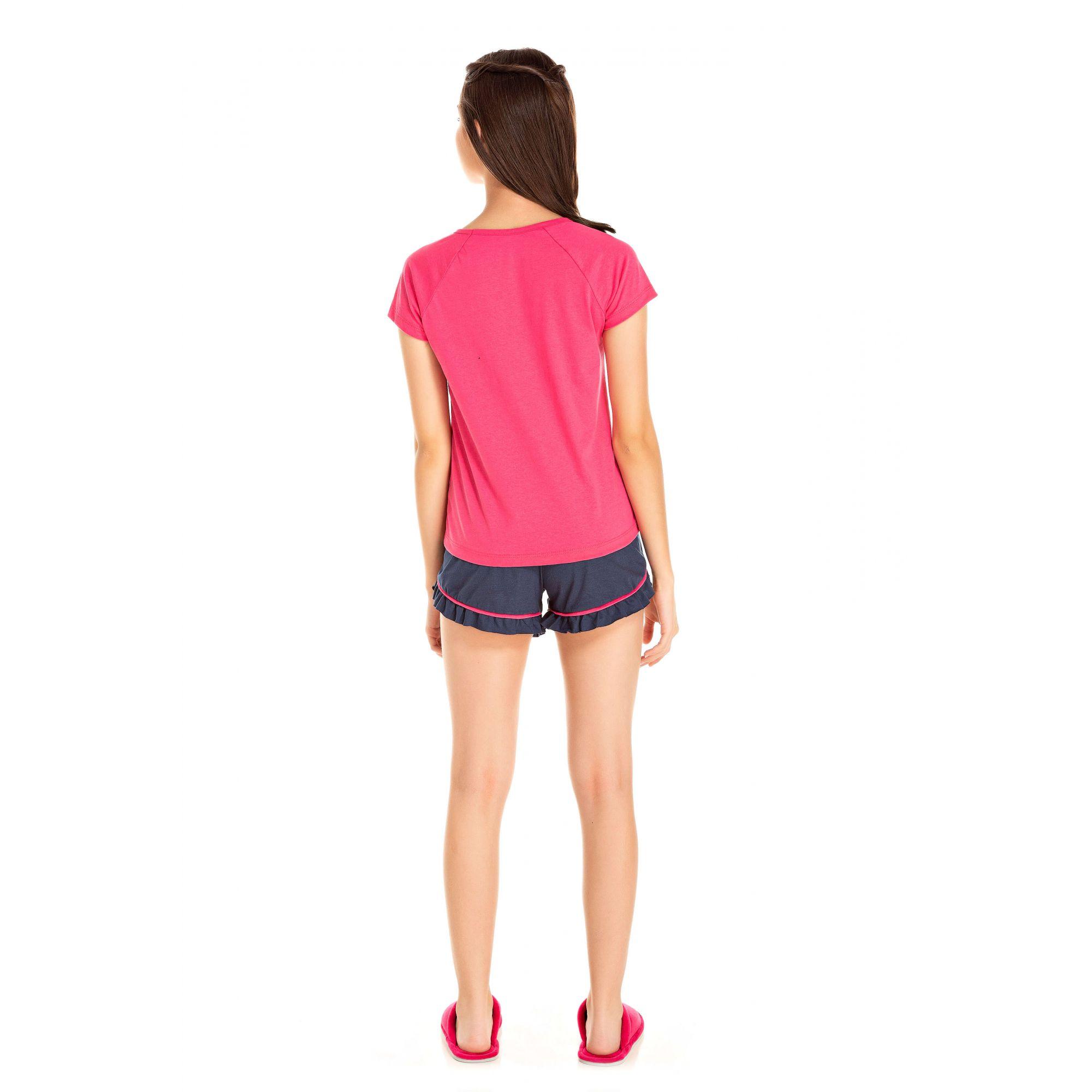 104/E - Short Doll Juvenil Feminino Gatinho Zzz - Pink