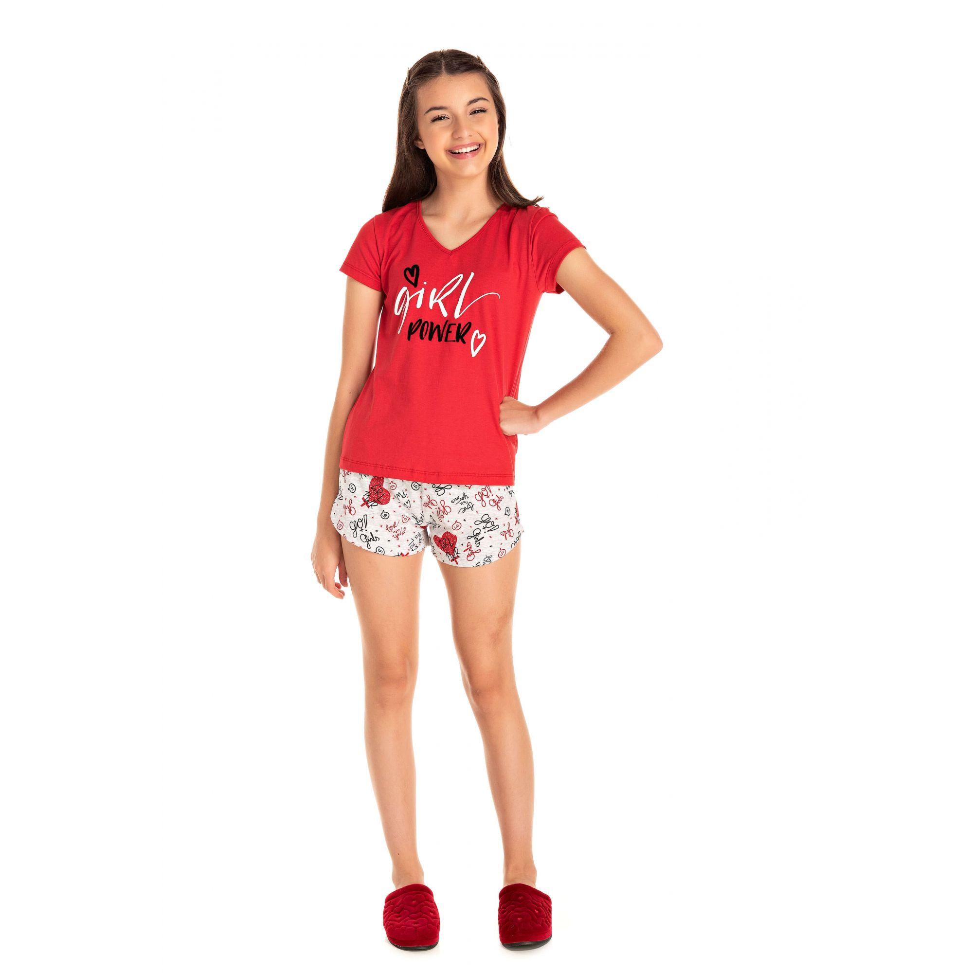 Short Doll Juvenil Feminino Girl Power - Vermelho