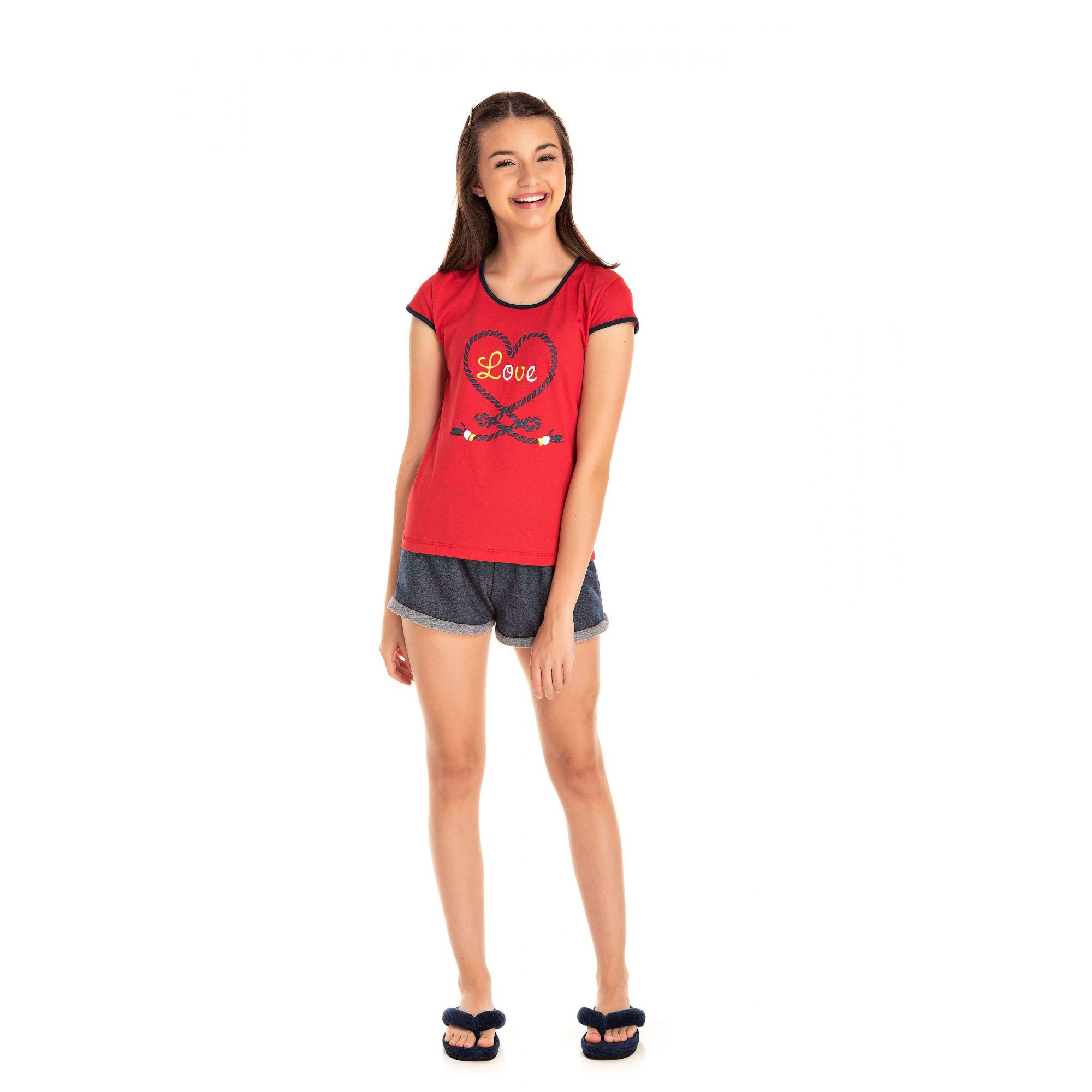 008 - Short Doll juvenil Feminino Love - Vermelho