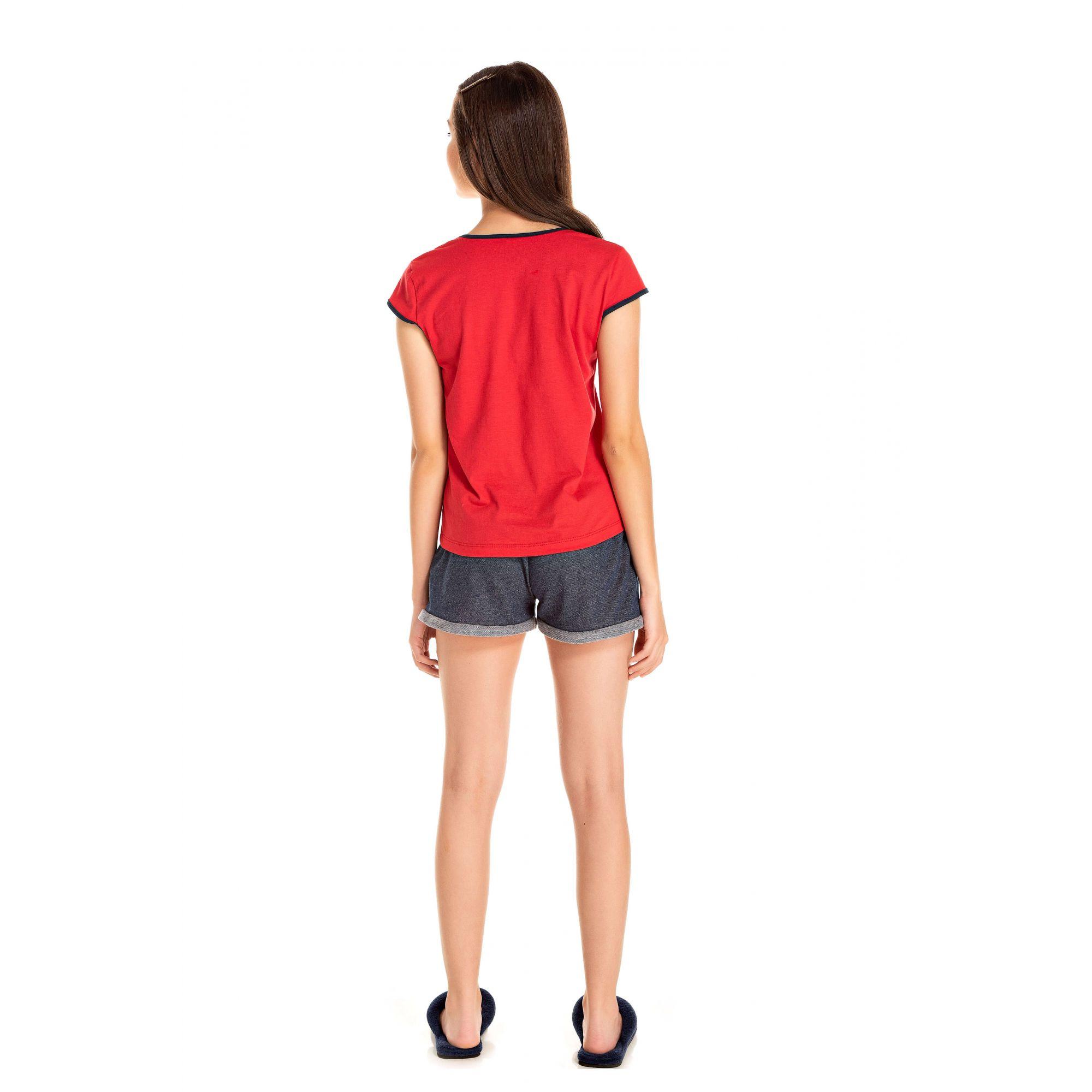 107/B - Short Doll juvenil Feminino Love - Vermelho
