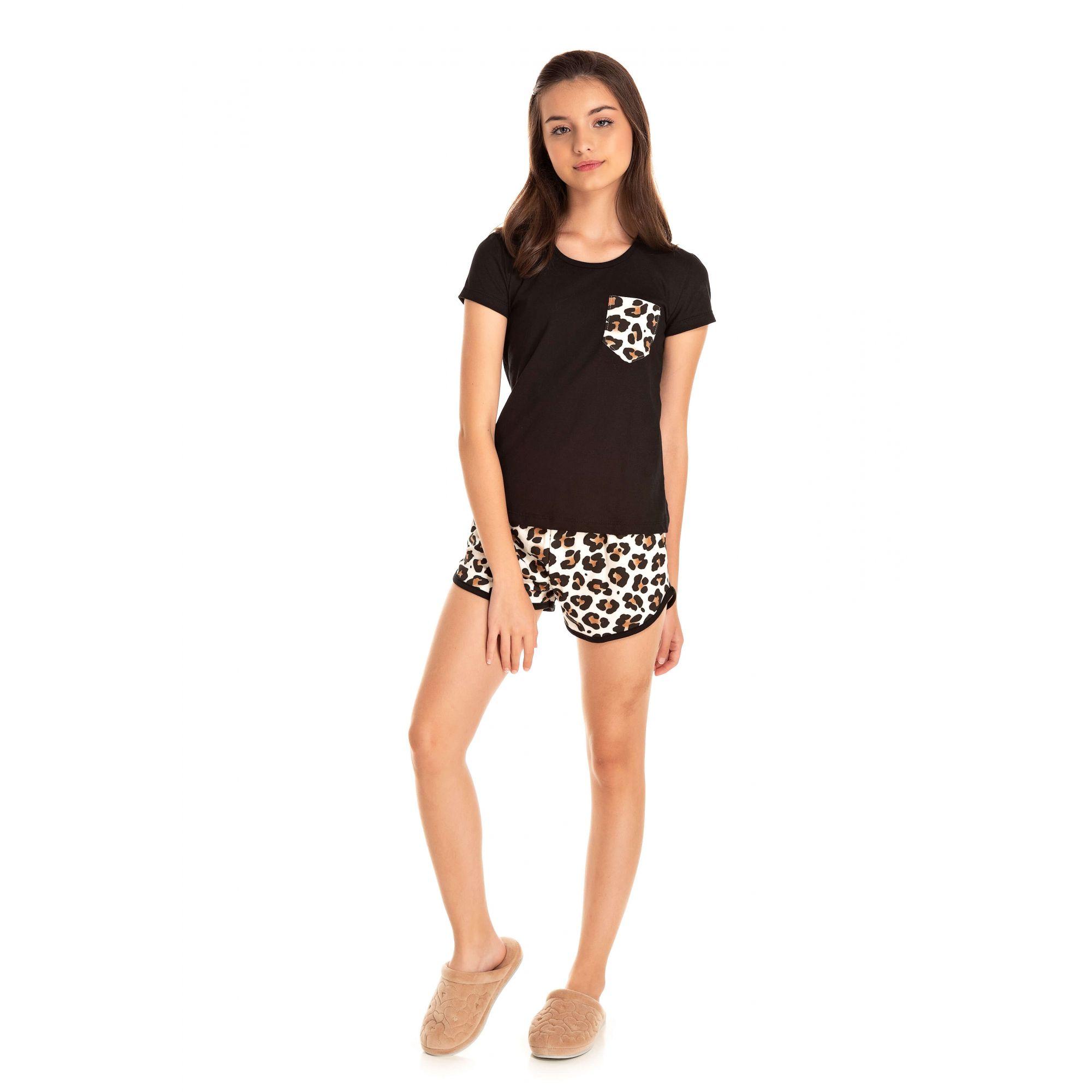 002 - Short Doll  Juvenil Feminino Oncinha