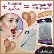 Placa e Espátula em Aço Inox para Maquiagem Macrilan