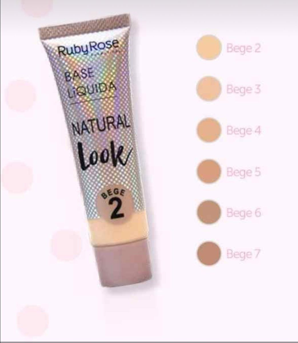 Base Liquida Natural Look Bege Grupo 2 Ruby Rose Kit c/ 06 unidades