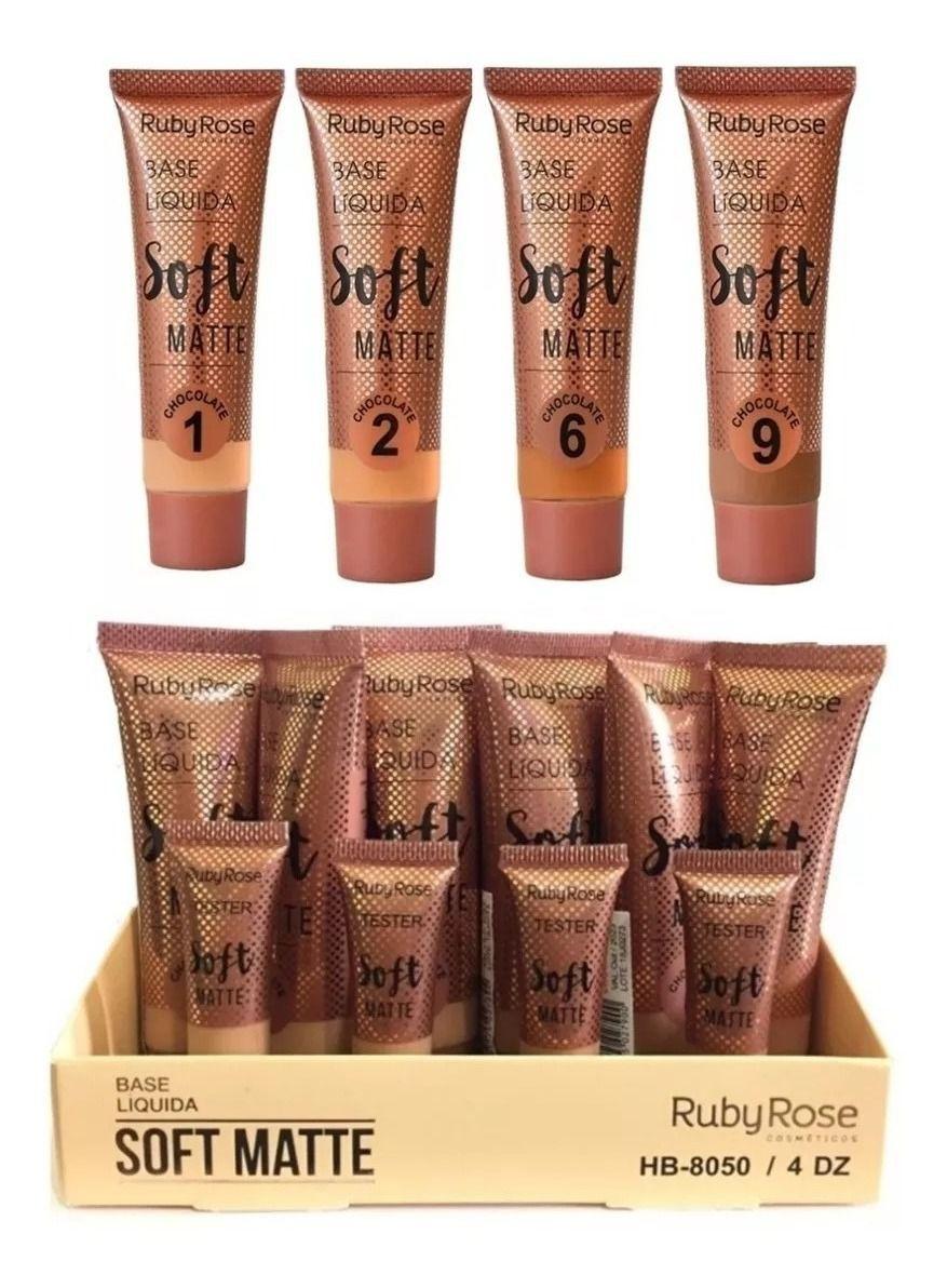 Base Liquida Soft Matte Ruby Rose Grupo 03 Chocolate - Kit c/ 06 unidades