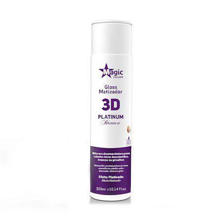 MATIZADOR GLOSS 3D PLATINUM BRANCO 300ML - MAGIC COLOR