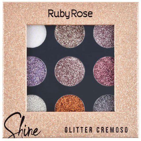 PALETA DE SOMBRAS SHINE GLITTER CREMOSO RUBY ROSE