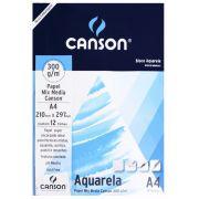 Bloco Canson Aquarela  Mix Media Linha Universitária 300g/m² A4 com 12 Folhas