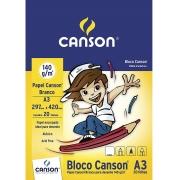 """Bloco Desenho Branco """"C""""A grain"""" Linha Infantil 140 g/m² A3 297 x 420 mm com 20 Folhas Canson"""