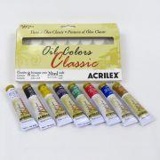 Estojo Tinta Óleo Colors Classic Acrilex com 8 bisnagas 20ml