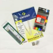 Kit desenho colorido iniciante A4 - com 12 cores